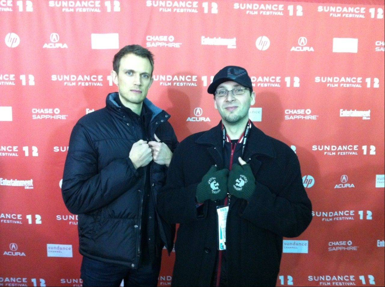 """V/H/S"" producers Matt Bettinelli-Olpin and Brad Miska, of Buffalo Grove, pose on the red carpet before the screening of their new horror movie at this year's Sundance Film Festival."