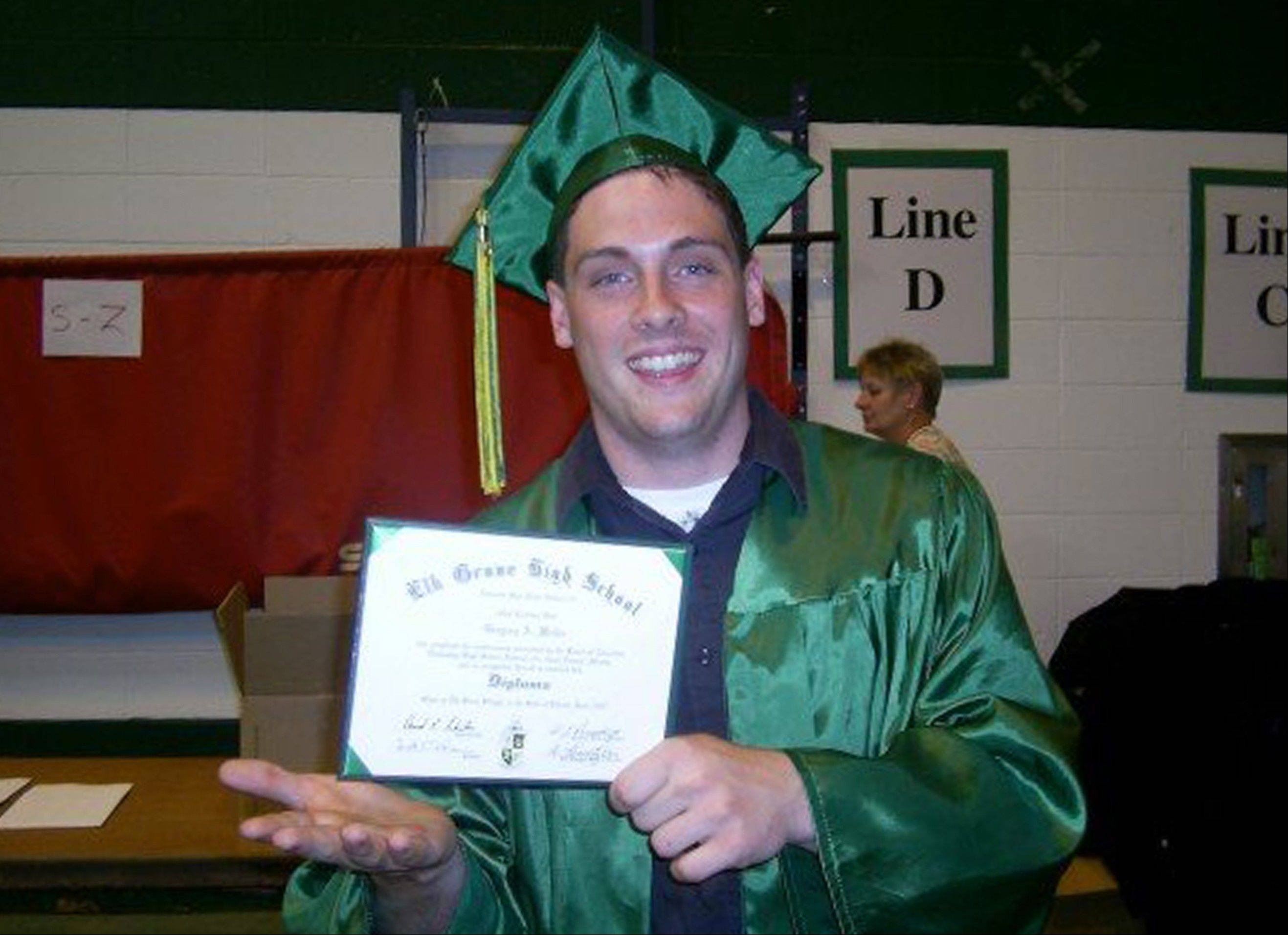 This June 2007 family photo provided by the Weiler/Meyers family shows, Greg Weiler at his high school graduation from Elk Grove High School, in Elk Grove Village, Ill. Wieler who has a a long history of mental illness has been charged with plotting to attack dozens of churches in Oklahoma with homemade Molotov cocktails. Weiler's parents both committed suicide, and Weiler has battled drug addiction and �a lot of mental illnesses that led to a suicide attempt in the eighth grade, said his cousin Johnny Meyers. Meyers' parents served as legal guardians for Weiler after the death of his parents. He said family members in suburban Chicago believe Weiler must have stopped taking his medication and planned to go to Oklahoma to see him.