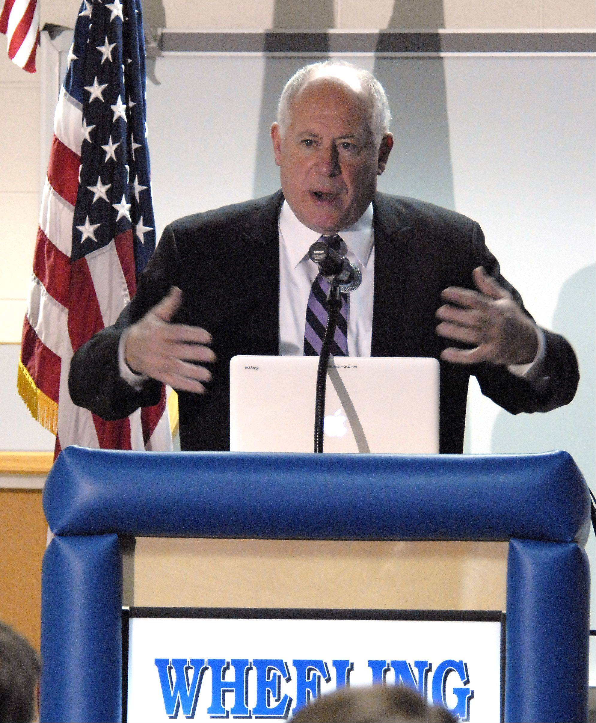 Governor Pat Quinn speaks at the NANO Connect forum Tuesday at Wheeling High School.