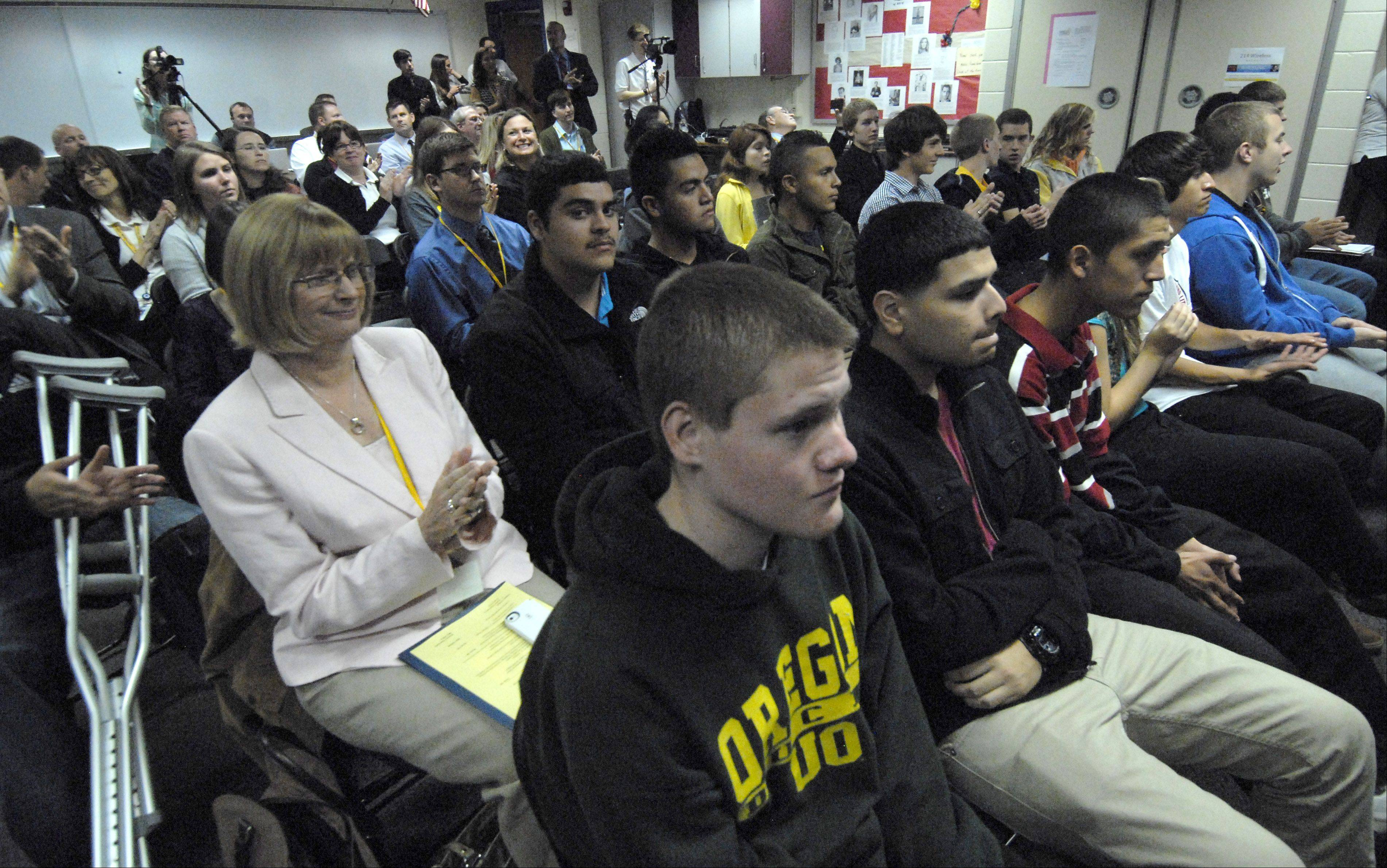 Students and teachers listen to Gov. Pat Quinn at the NANO Connect forum Tuesday at Wheeling High School.