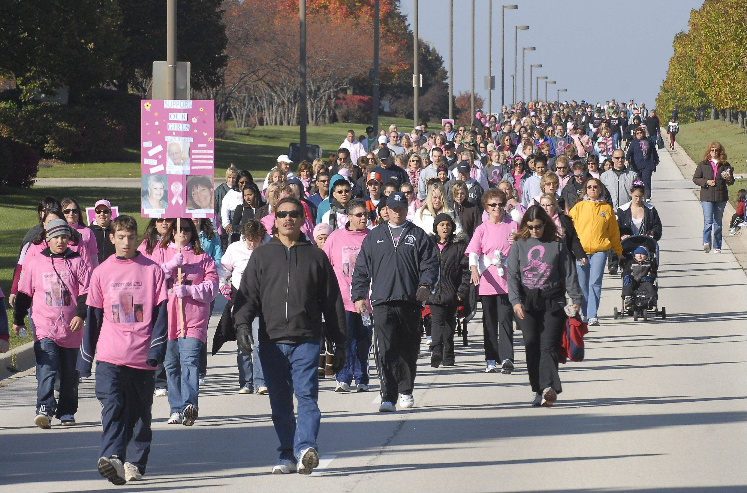 Participants -- many in pink, the signature color in the fight against breast cancer -- will walk over the next two weekends in Making Strides Against Breast Cancer events to support those battling the disease, celebrate those who have emerged cancer-free and remember those taken by the disease.