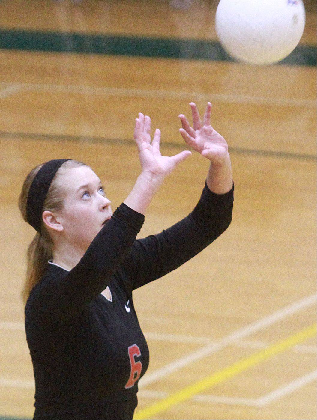 Palatine's Cassie Chaplinsky prepares to bump the ball Tuesday at Fremd.