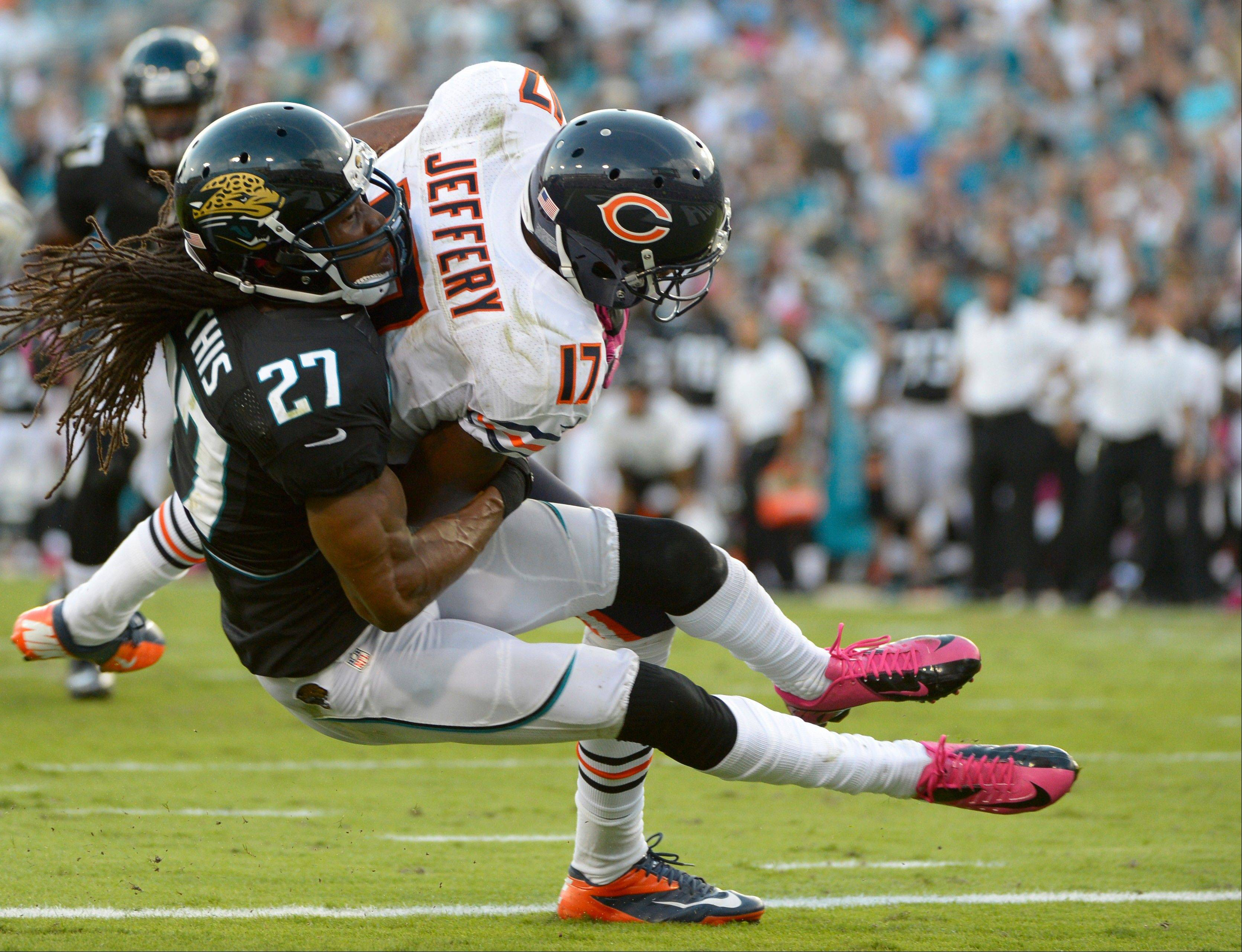 Bears rookie wide receiver Alshon Jeffery did not return after this 10-yard touchdown catch Sunday at Jacksonville.