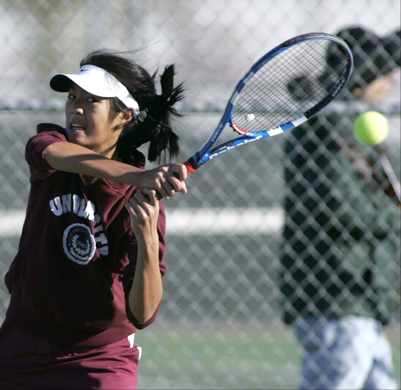 Elgin's Dahlia Keonavongsa competes during the Upstate Eight Rive tennis meet Saturday at Elgin High School.