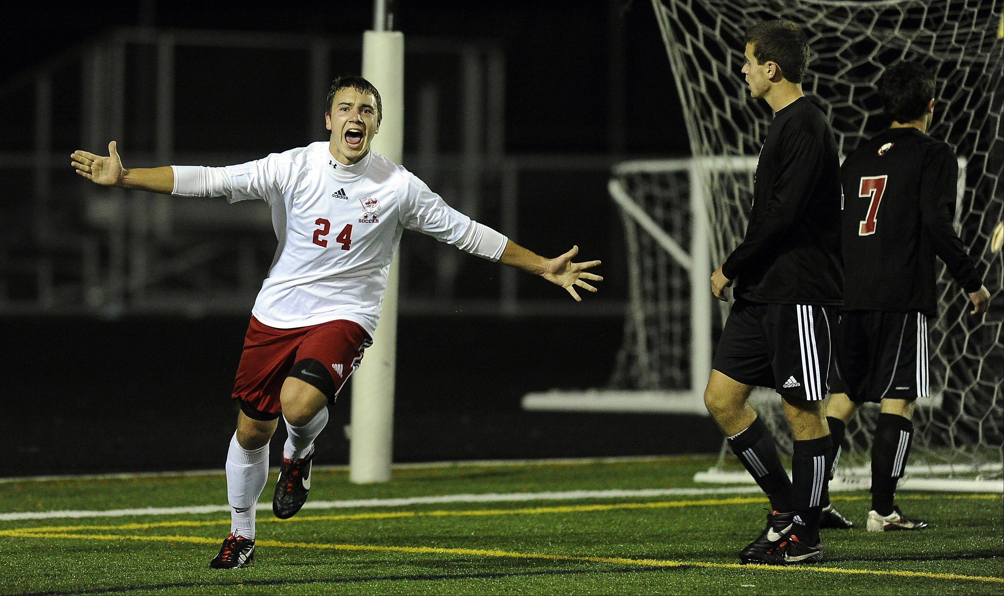 Barrington's Danny Jaderholm watches as Palatine's Jeremy Velinski celebrates his goal during the MSL West soccer tournament at Palatine High School on Thursday.