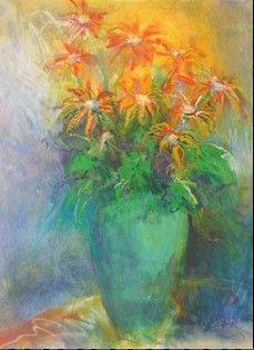 """Orange Burst,"" an original oil pastel by Carol Zack of Elgin."