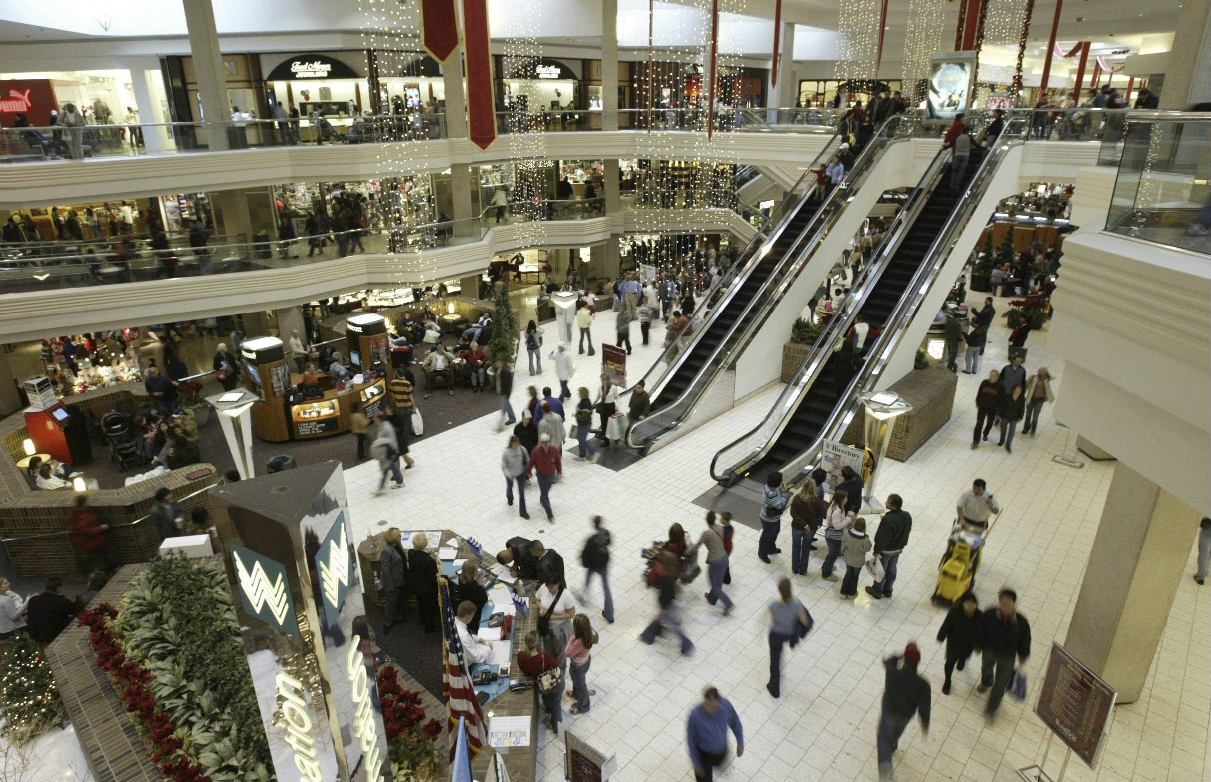 Shoppers crowd Woodfield Mall in Schaumburg.
