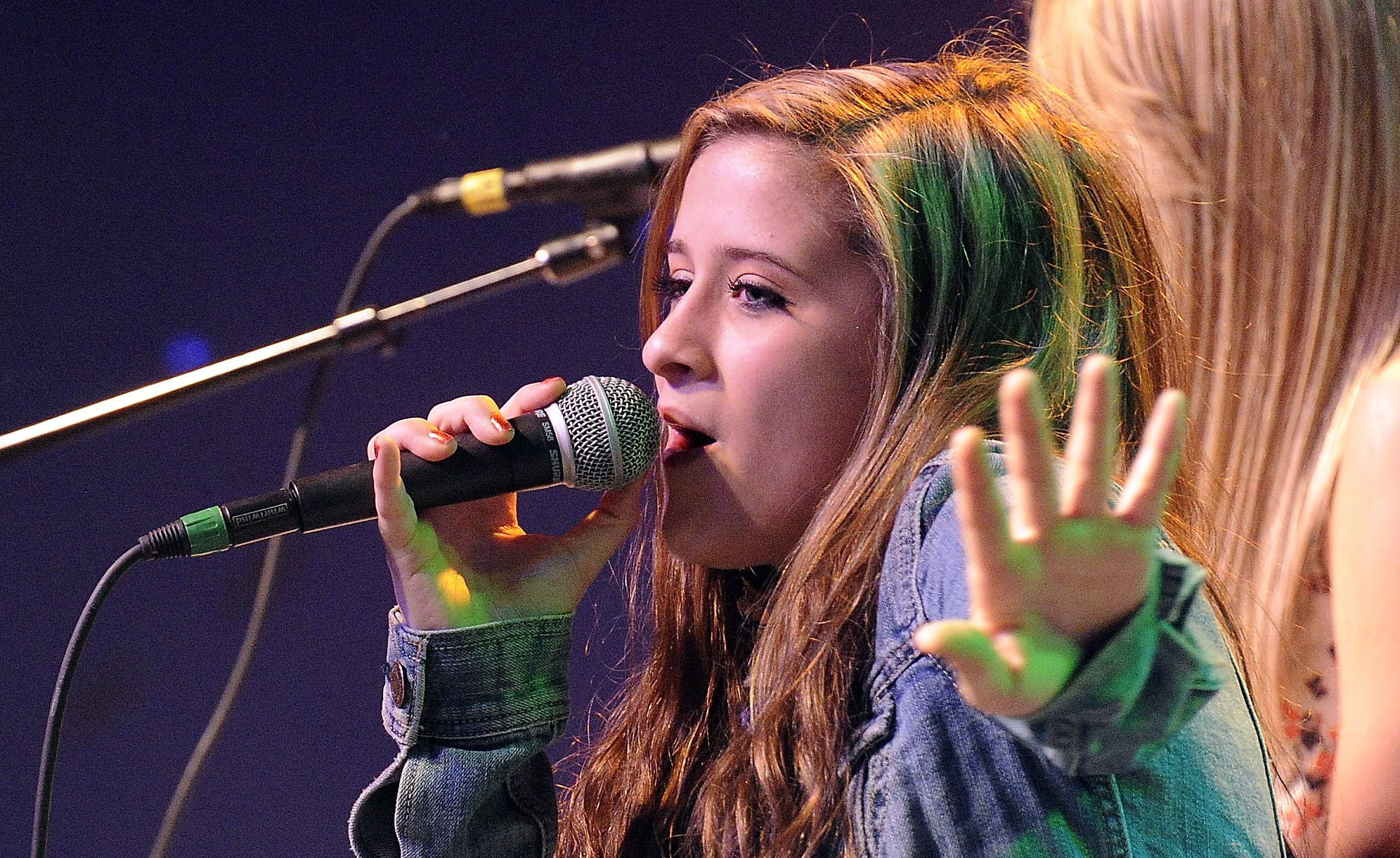 Serendipity band member and lead singer Josie Treffy, 15, of South Elgin, sings for her fans at Durty Nellie's in Palatine.