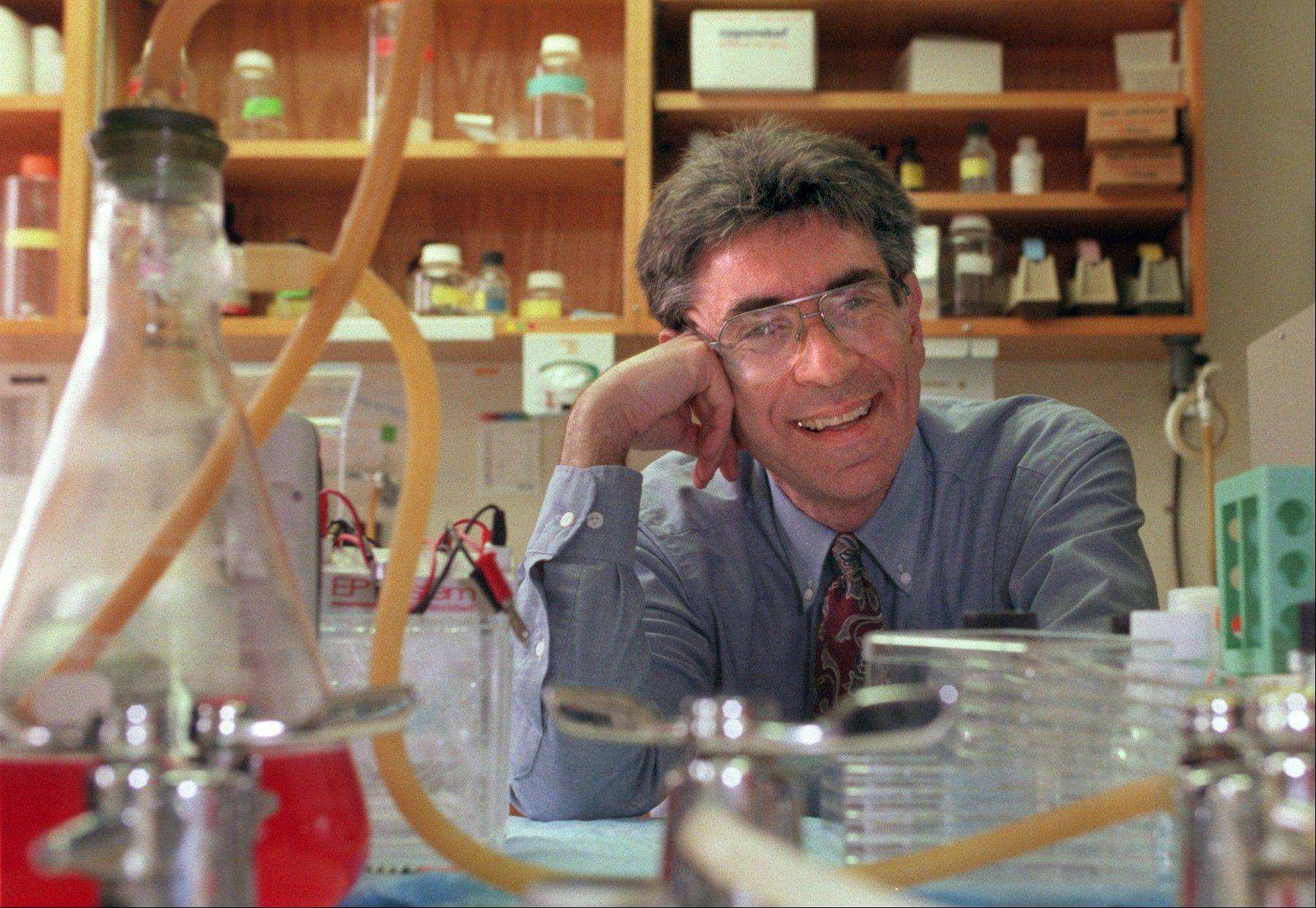"Dr. Robert Lefkowitz of Duke University photographed in his lab on campus in Durham, N.C. in 1996. Lefkowitz along with American Brian Kobilka have won the 2012 Nobel Prize in chemistry it was announced early Wednesday morning Oct. 10, 2012. The Royal Swedish Academy of Sciences cited the two researchers Wednesday ""for studies of G-protein-coupled receptors."""