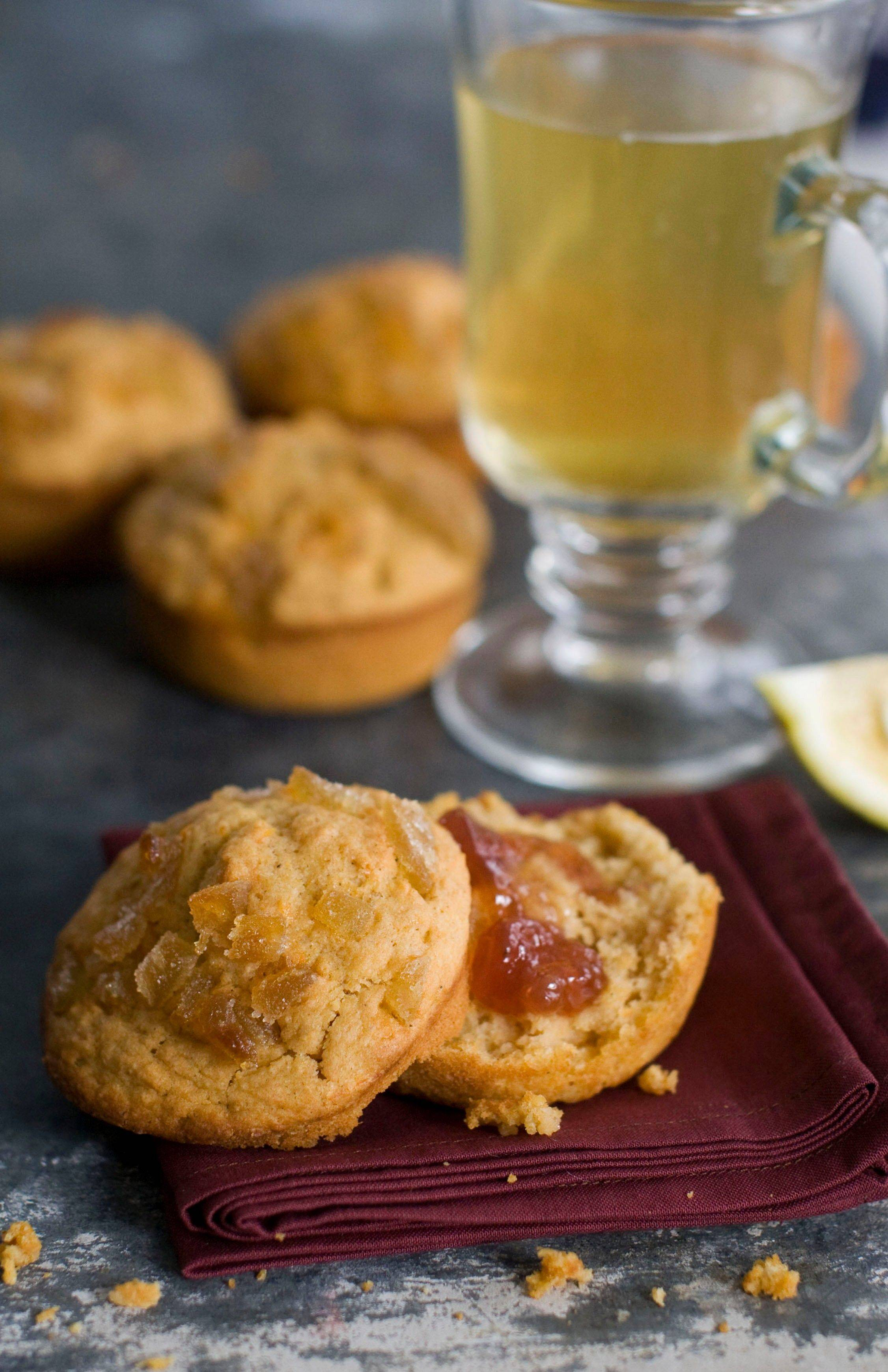 Sweet Potato Buttermilk Muffins with Candied Ginger Topping