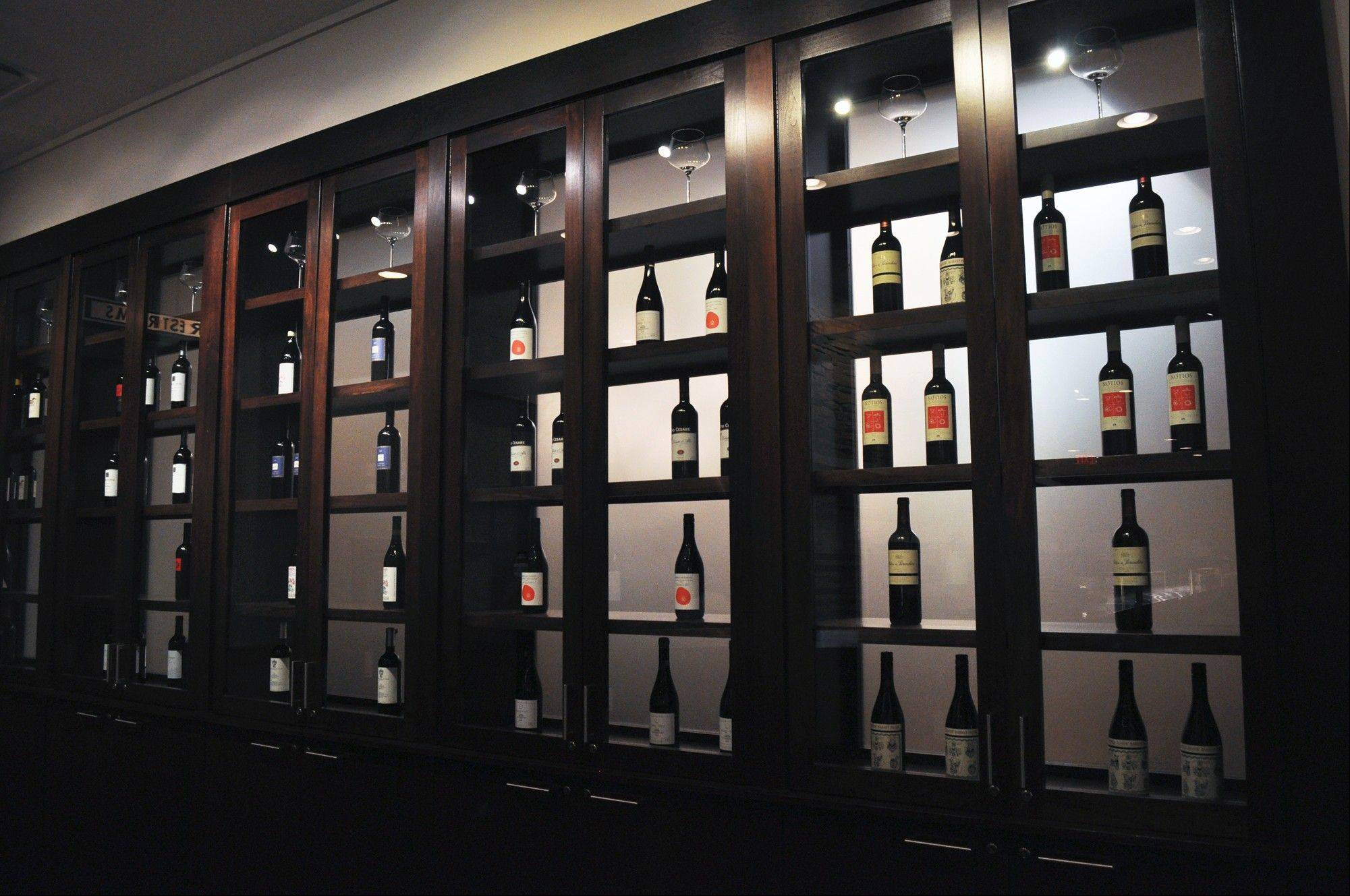 Fresco 21 dedicates a wall to its wines, including those Marchesi di Gresy wines featured at a wine dinner on Tuesday, Oct. 16.
