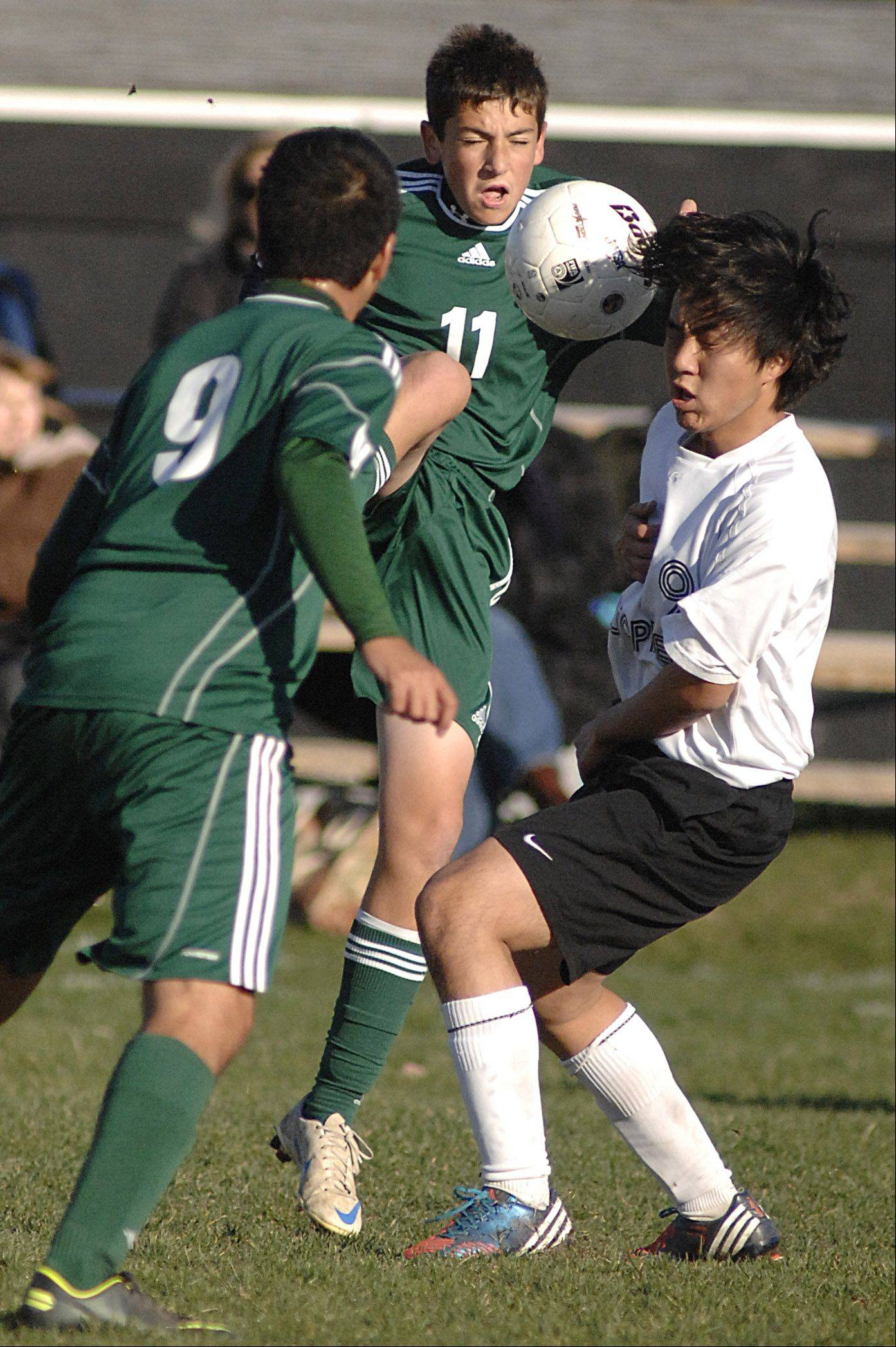 St. Edward's Austin Pfeiffer collides with Elgin Academy's Tano Xayasarn in the first half on Wednesday, October 10.