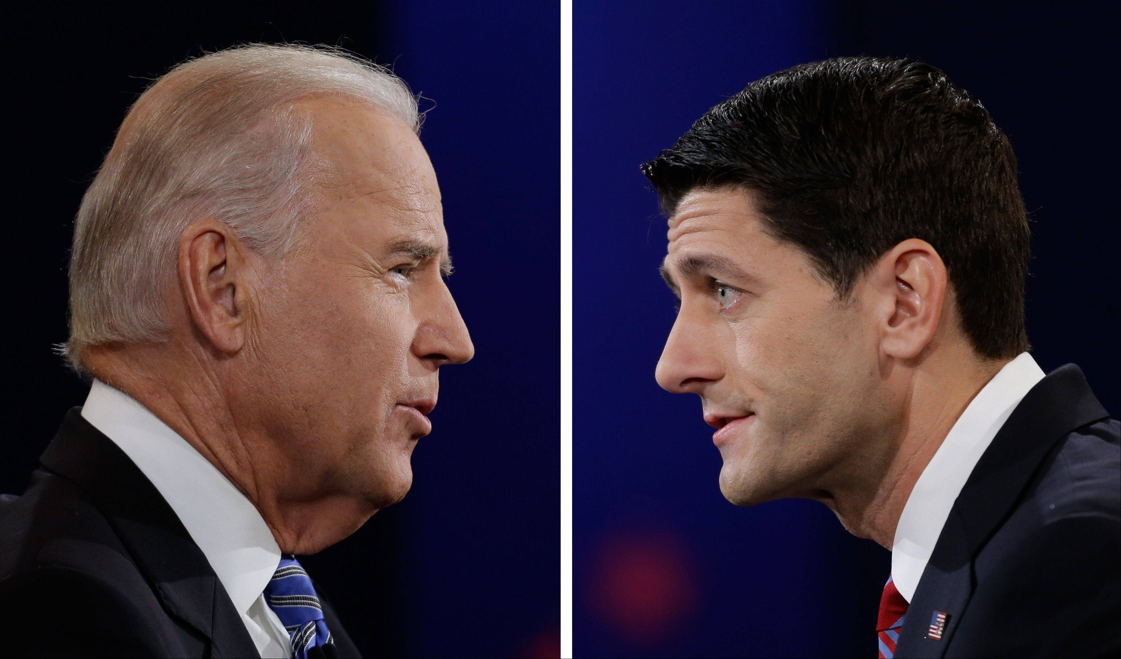 Vice President Joe Biden, left, and Republican vice presidential nominee Paul Ryan of Wisconsin face off during the vice presidential debate at Centre College Thursday in Danville, Ky.