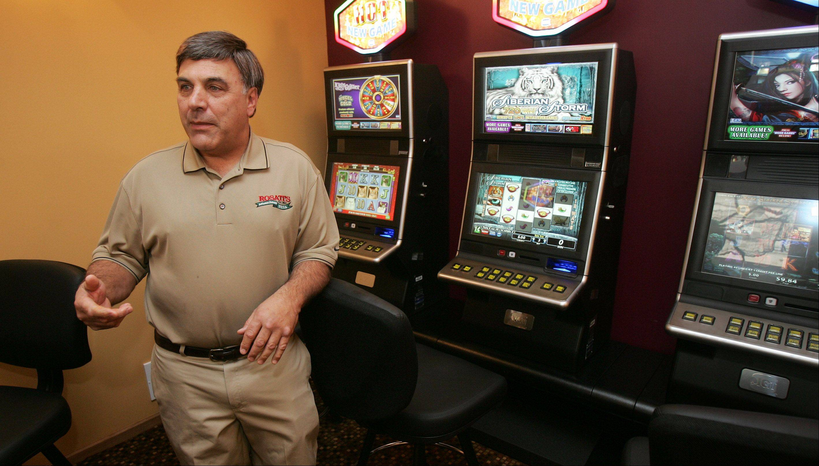 "Co-owner Anthony Patti says many of Wednesday's lunch customers gambled in his Rosati's of Lakemoor restaurant because of the ""novelty"" of the new video gambling terminals that launched across the state. But he's hoping his five machines generate a ""little extra"" income to justify his expenses, which including hiring several part-time employees."