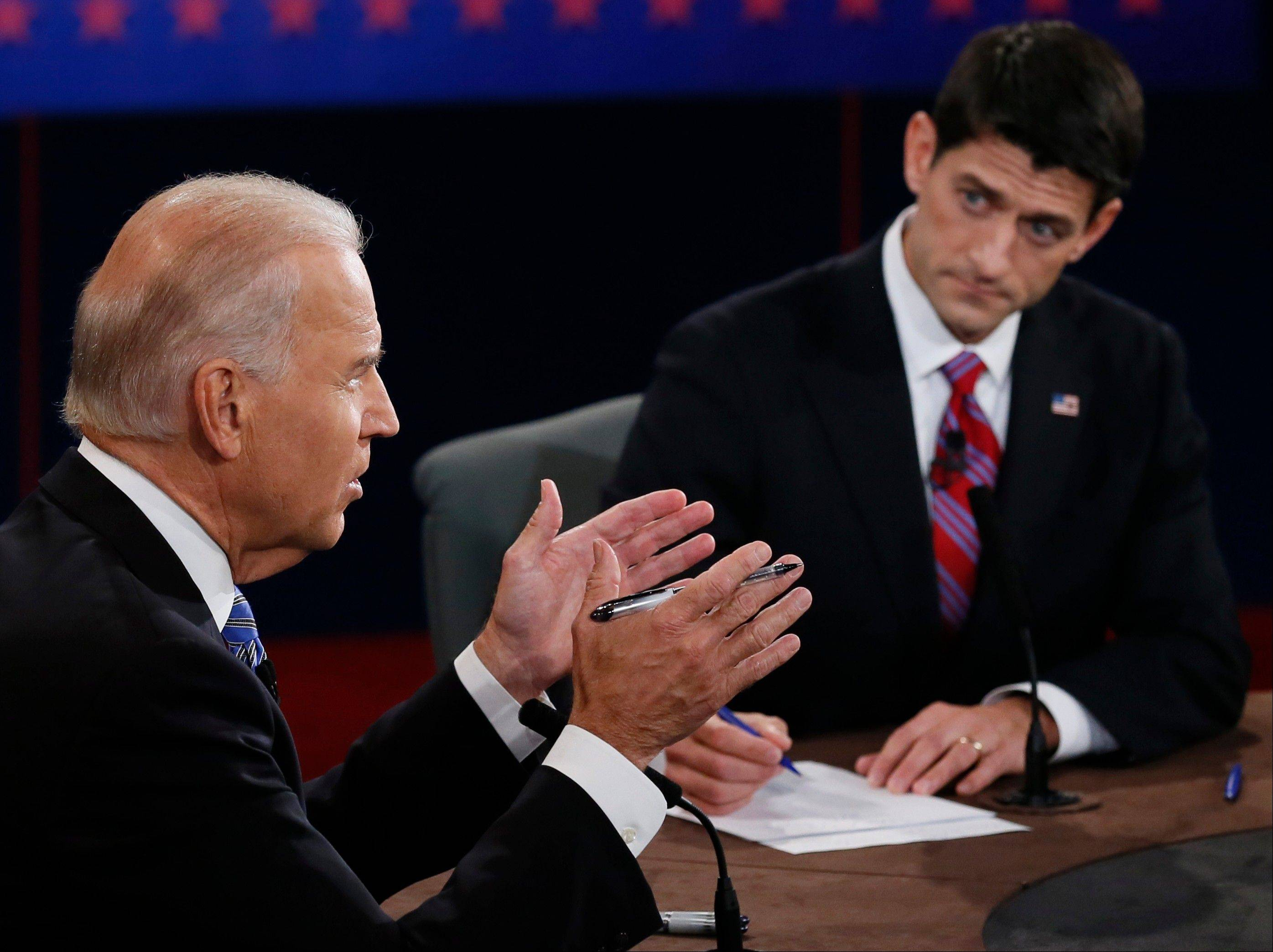 Vice President Joe Biden and Republican vice presidential nominee Rep. Paul Ryan of Wisconsin participate in the vice presidential debate at Centre College on Thursday in Danville, Ky.