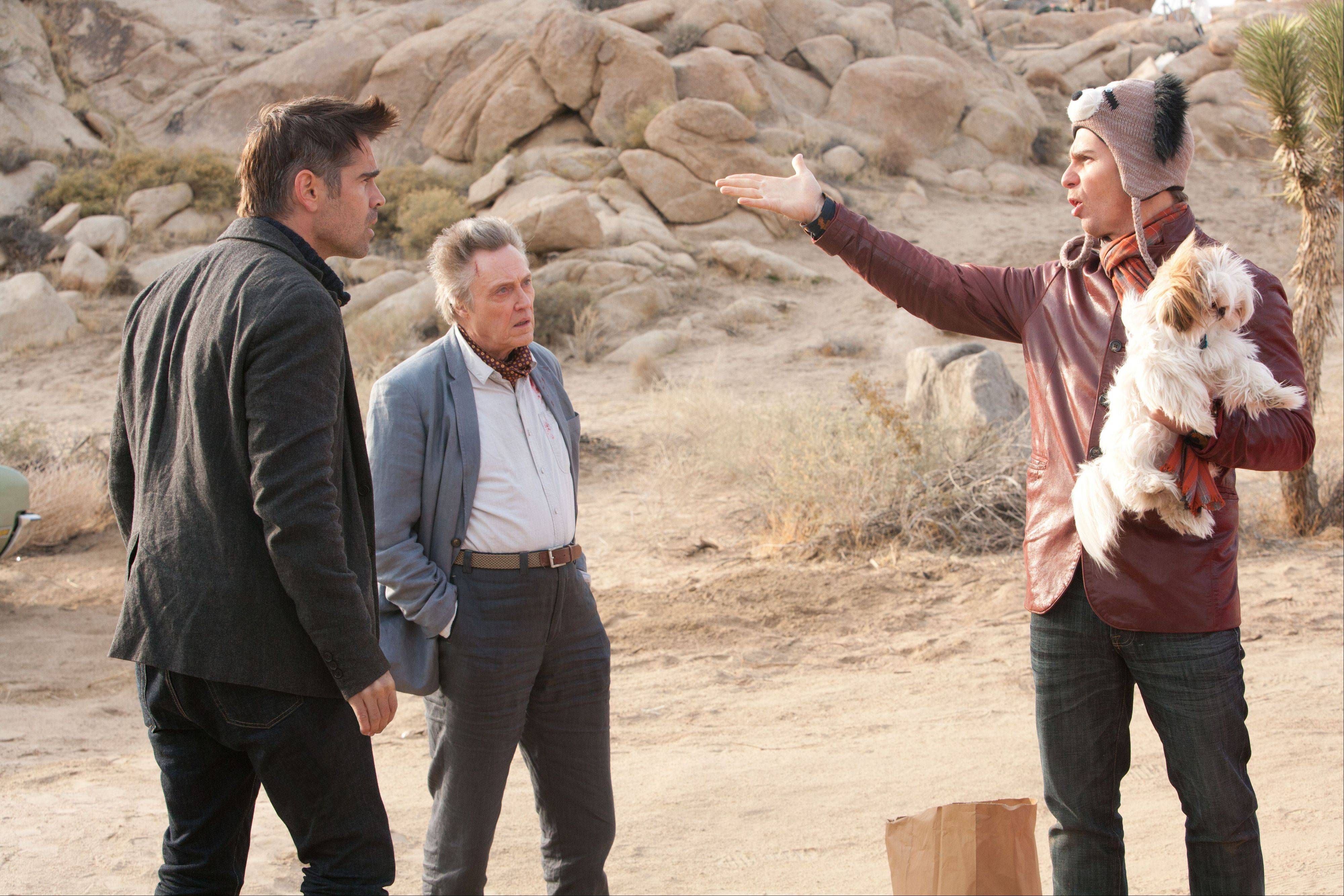 "Marty (Colin Farrell), left, and Hans (Christopher Walken) listen to nutty Billy (Sam Rockwell) spout violent fantasies in Martin McDonagh's ""Seven Psychopaths."""