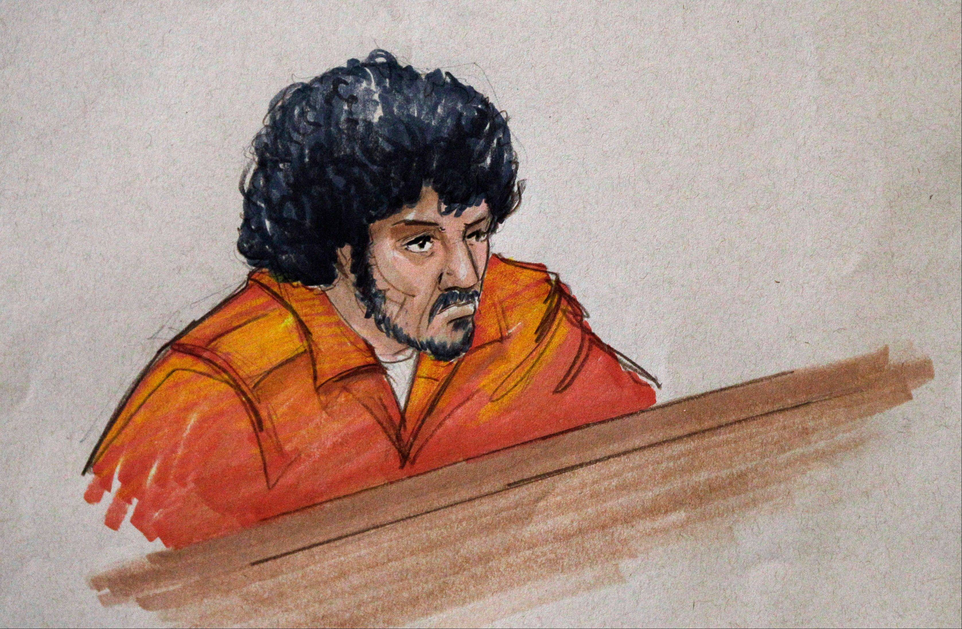 In this Sept. 17 courtroom sketch, Adel Daoud, 19, appears before a judge at federal court in Chicago.