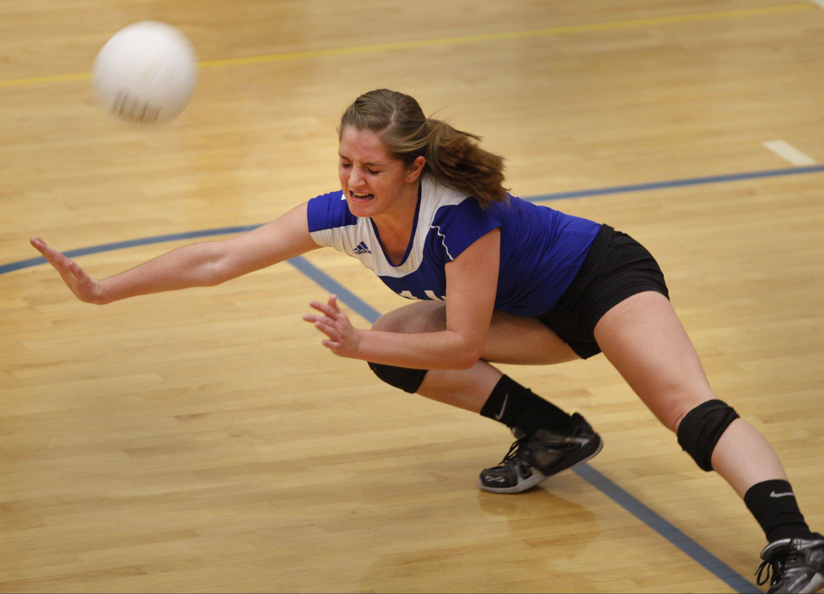 Burlington-Central's Lauren Wiltsie makes an effort for a dig Thursday night against Richmond-Burton.