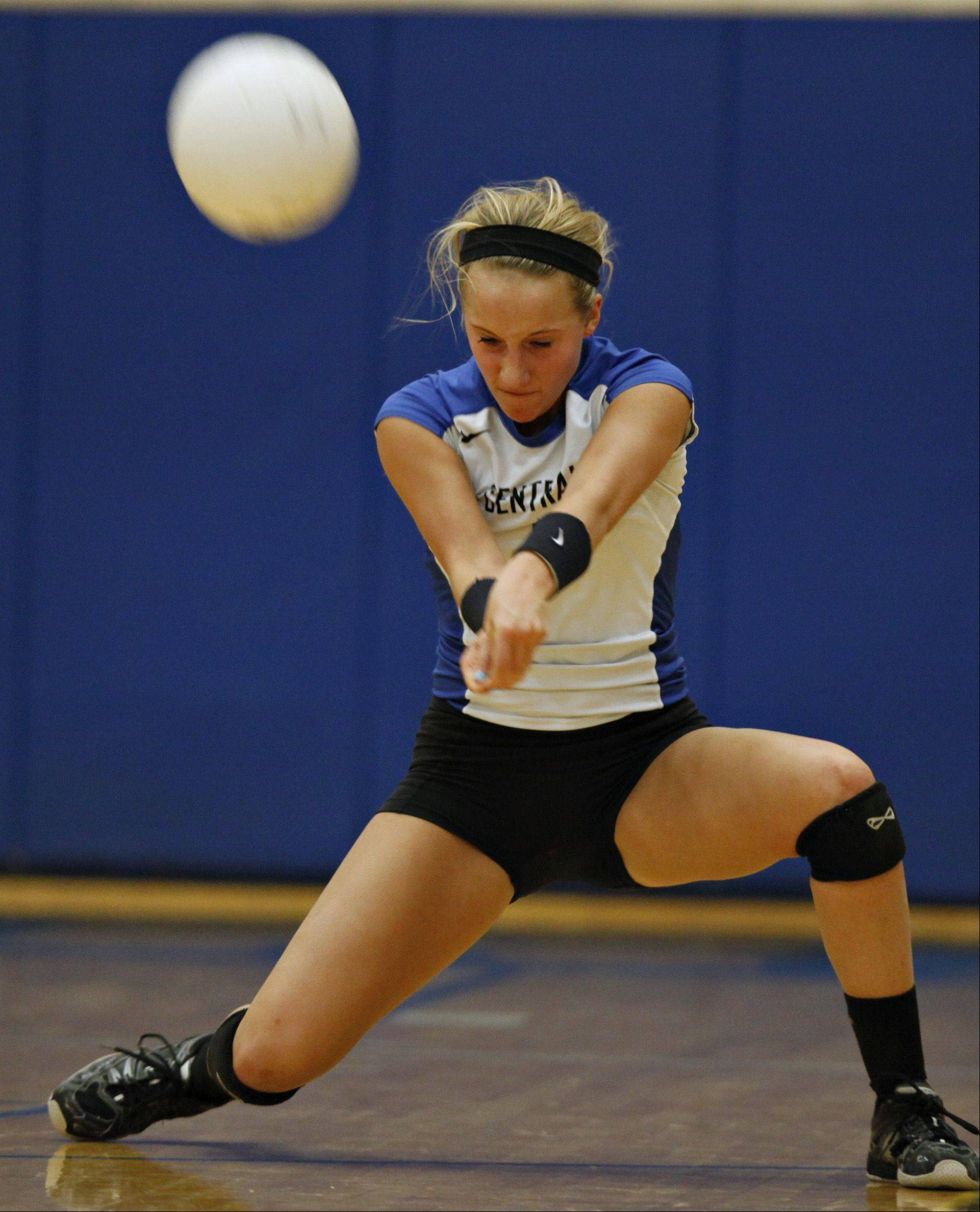 Burlington-Central's Allie O'Reilly bumps a serve Thursday night against Richmond-Burton.