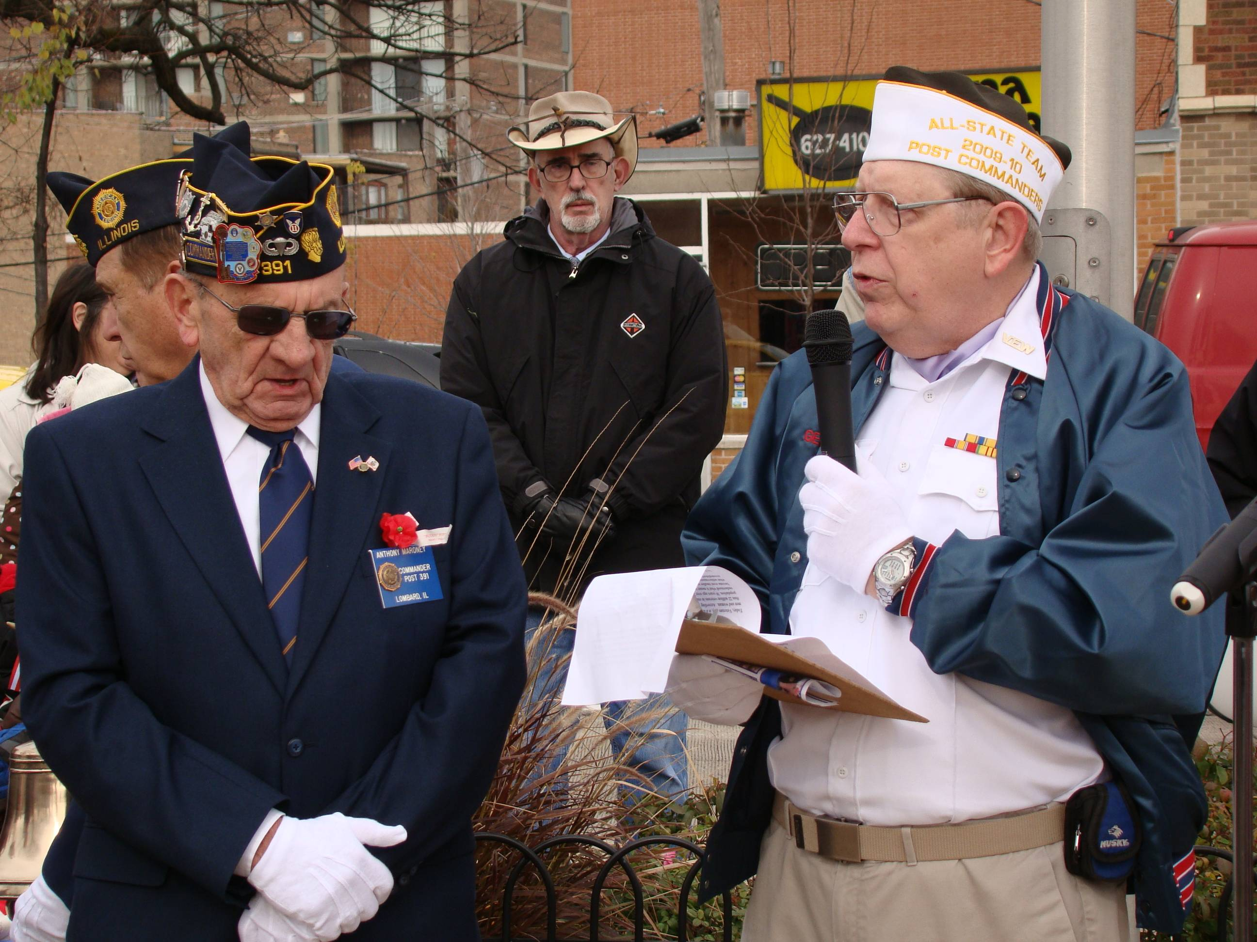 VFW post members Tony Maroney (left) and George Miller have both been instrumental in helping plan the Village of Lombard Veterans' Day ceremonies.