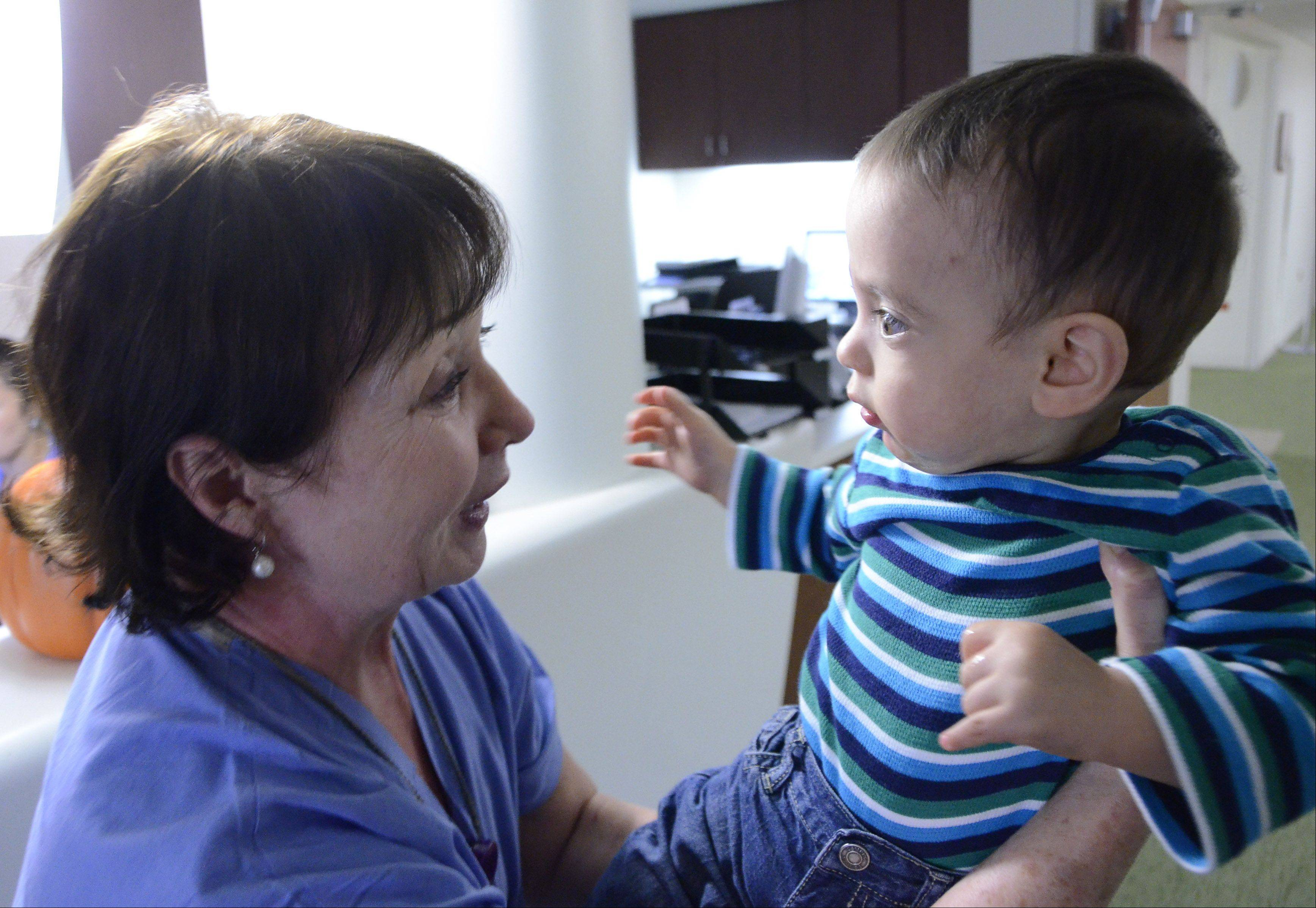 Tears were flowing when nurse Irene Wysocki was reunited with Zachary Kordik Thursday in the neonatal ICU.