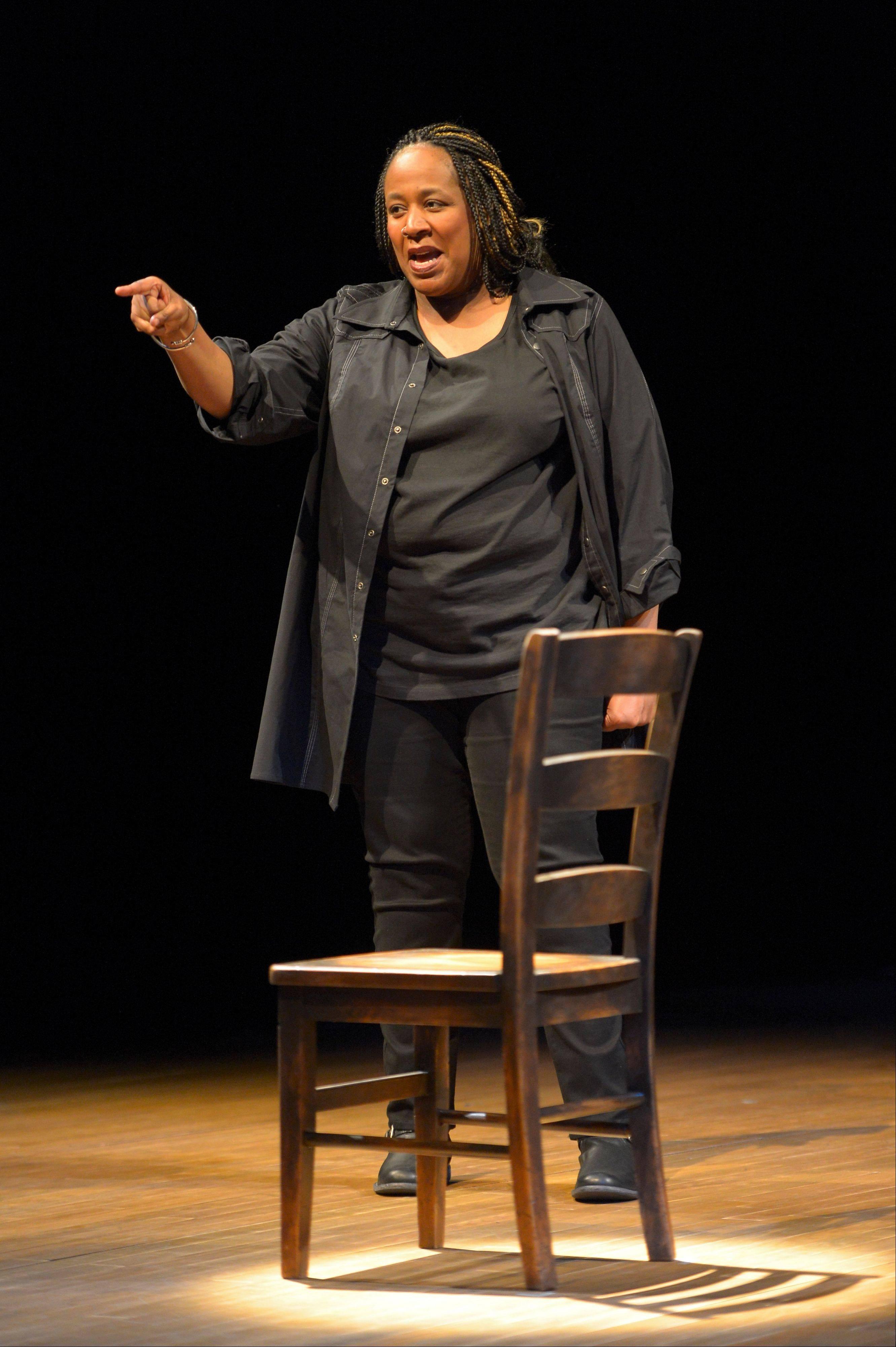 "Dael Orlandersmith delivers a compelling, unsettling portrait of the cycle of abuse in her one-person show ""Black n Blue Boys/Broken Men,"" directed by Chay Yew for Goodman Theatre."