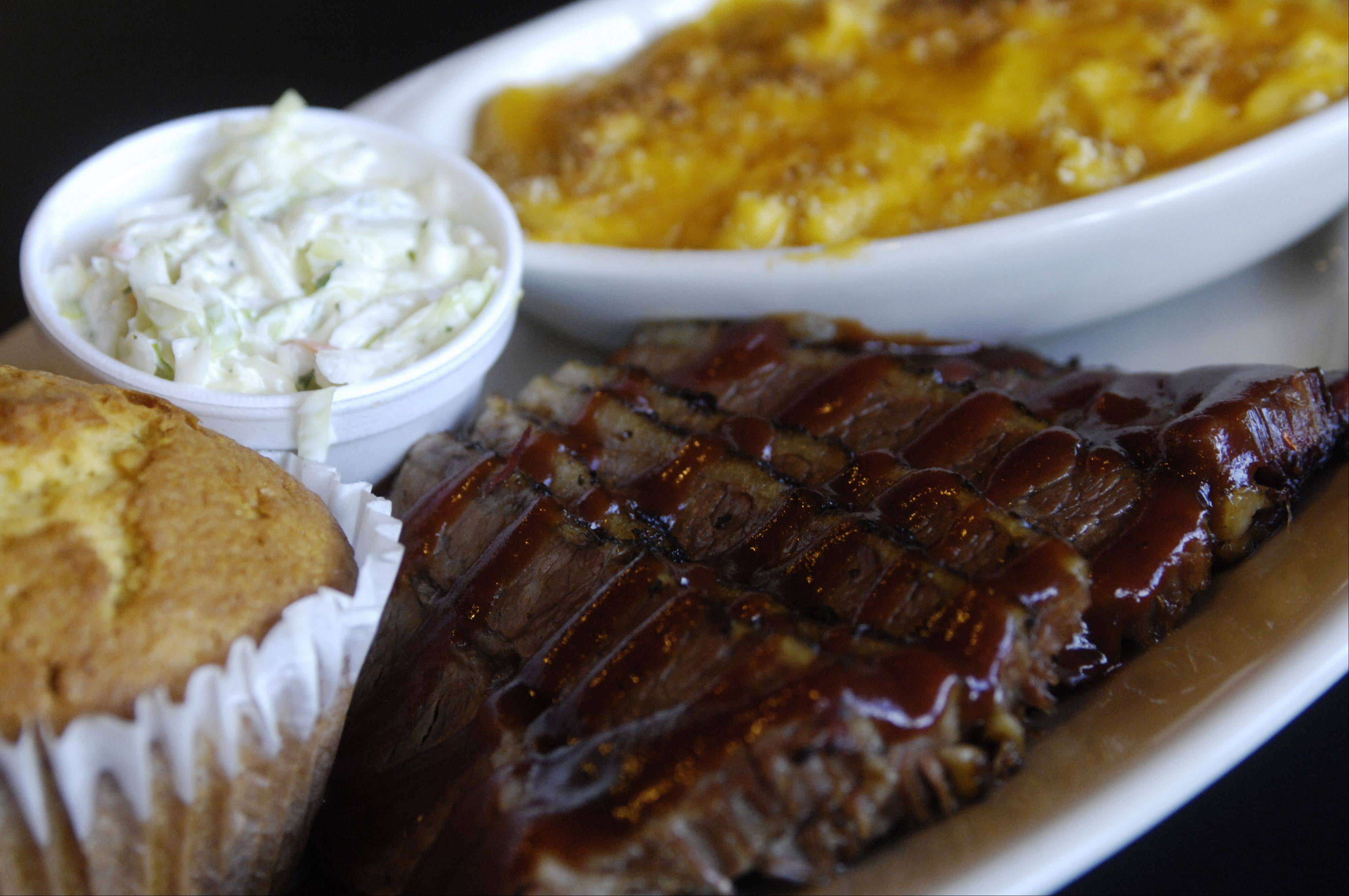 The beef brisket at JD's Q & Brew in Arlington Heights cooks for 12 to 14 hours.