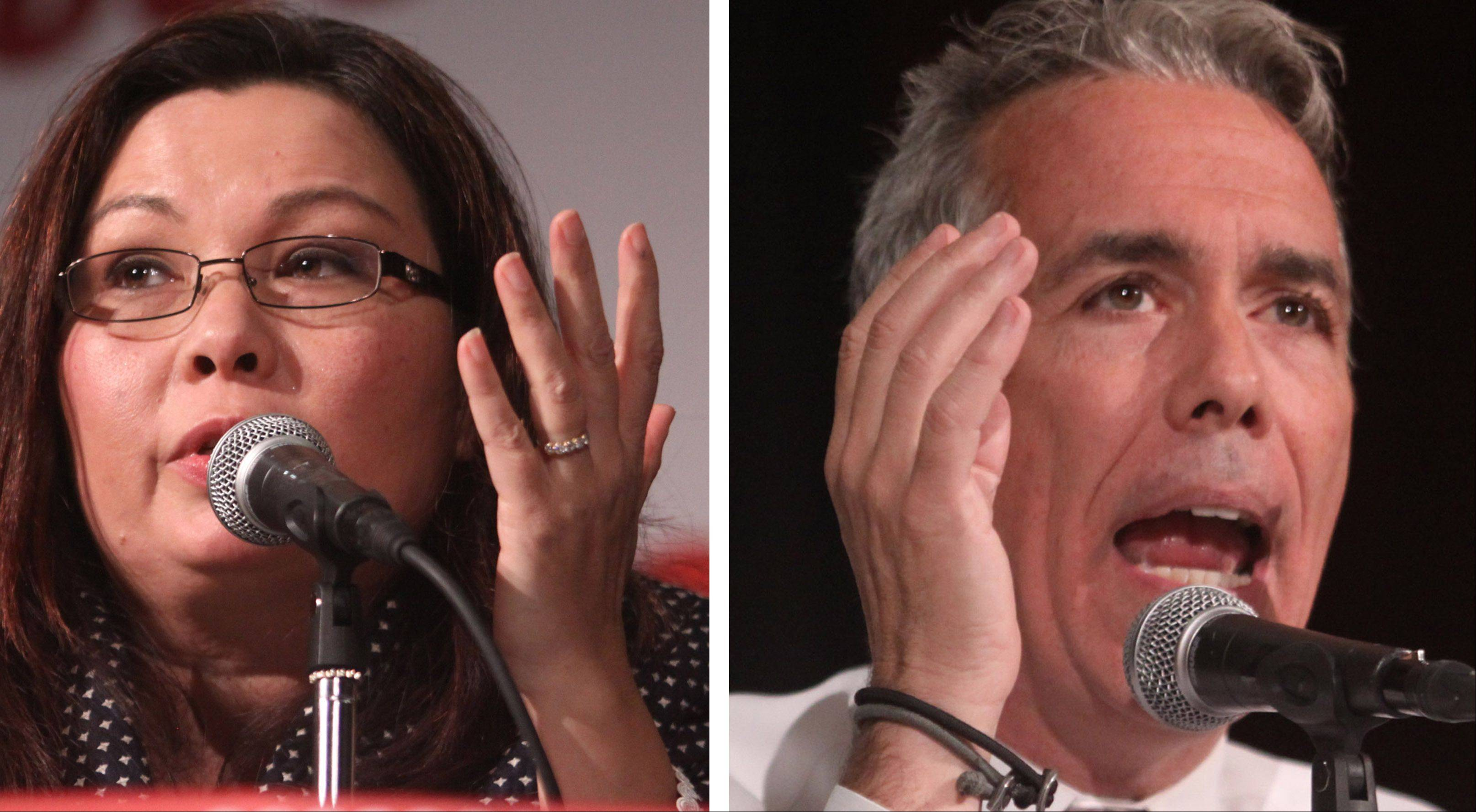 8th Congressional District candidates Tammy Duckworth and Joe Walsh debated Tuesday night at the Meadows Club in Rolling Meadows.