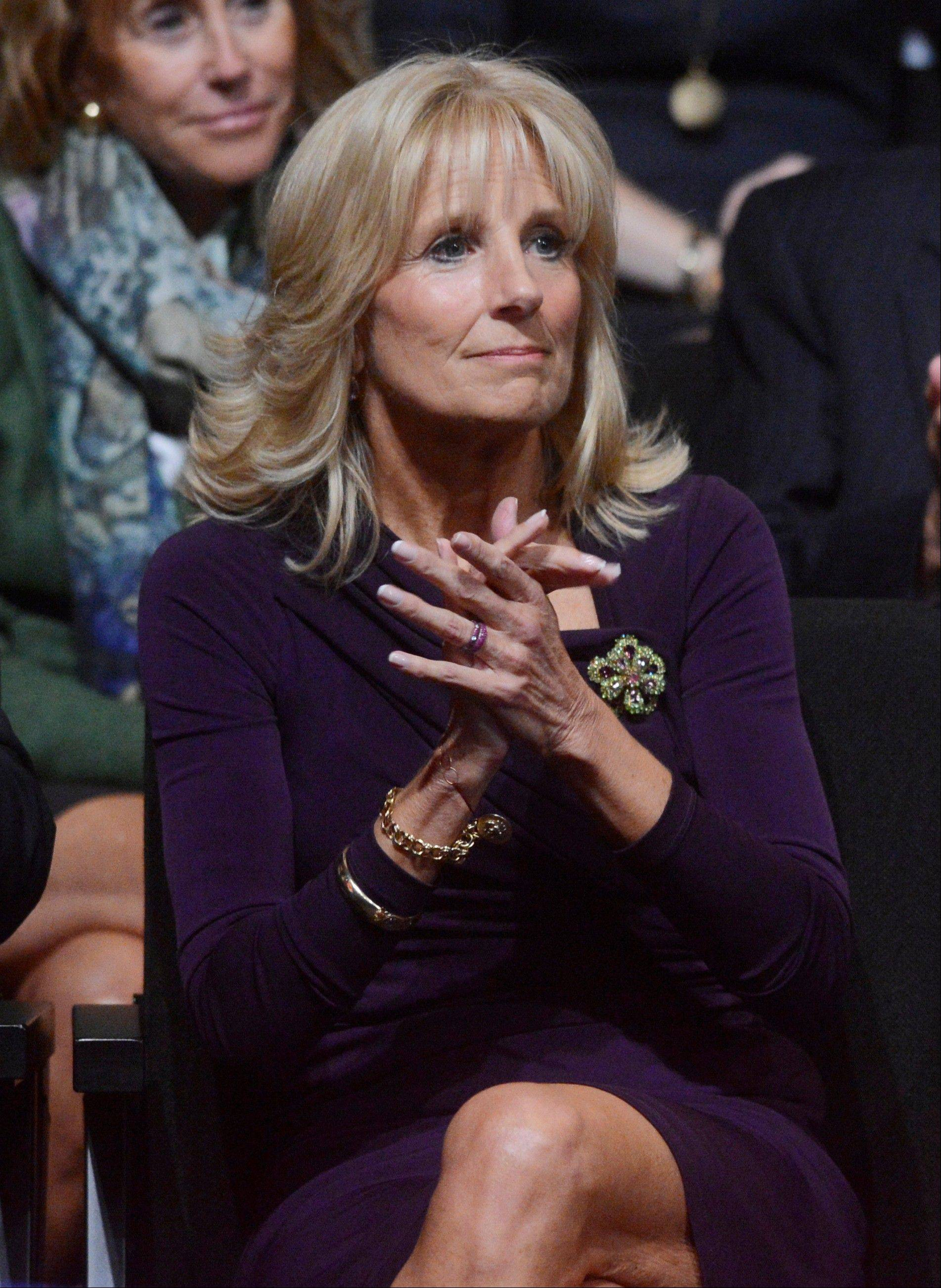 Jill Biden, wife of Vice President Joe Biden, waits for the start of the vice presidential debate at Centre College.