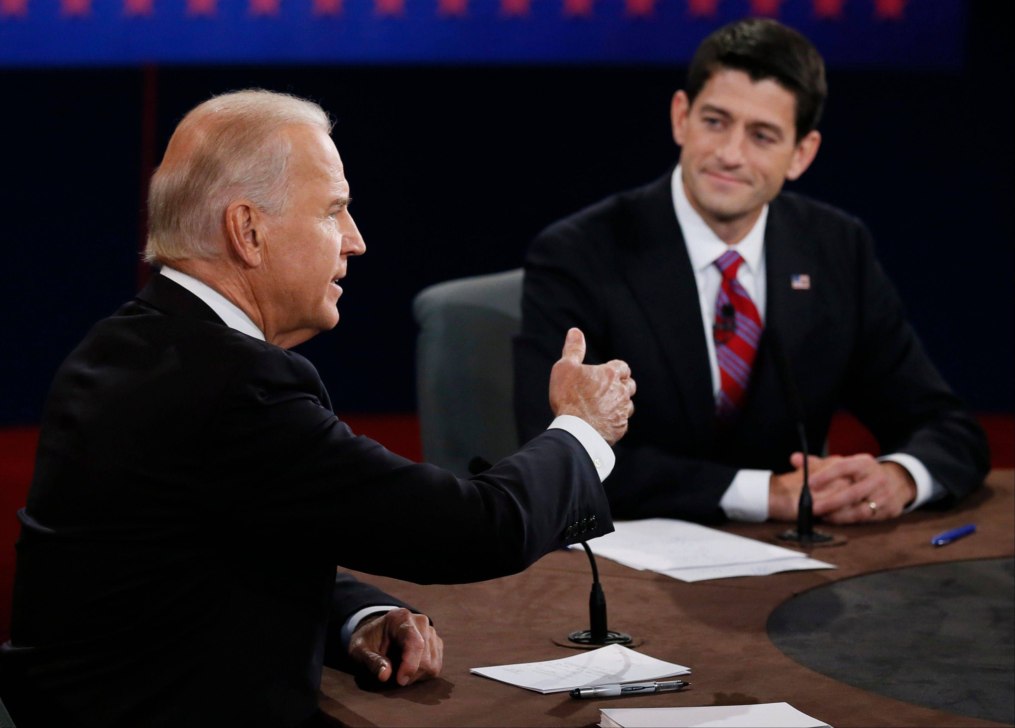 Vice President Joe Biden and Republican vice presidential nominee Rep. Paul Ryan of Wisconsin participate in the vice presidential debate.