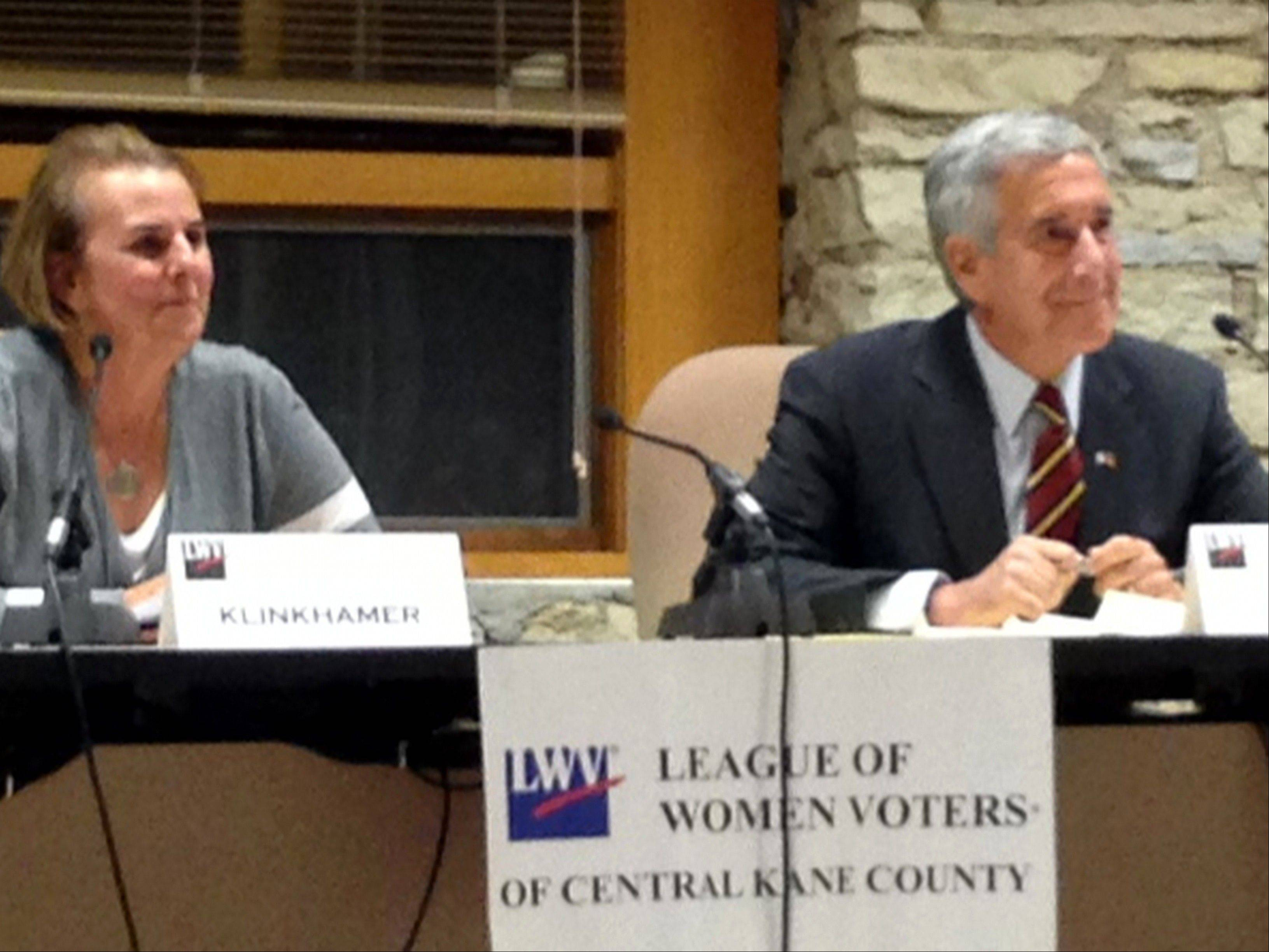 Democrat Sue Klinkhamer, left, and Republican Chris Lauzen faced a series of questions from the audience during a League of Women Voters candidates forum for countywide offices in Batavia Thursday night. Klinkhamer and Lauzen are candidates for county board chairman.