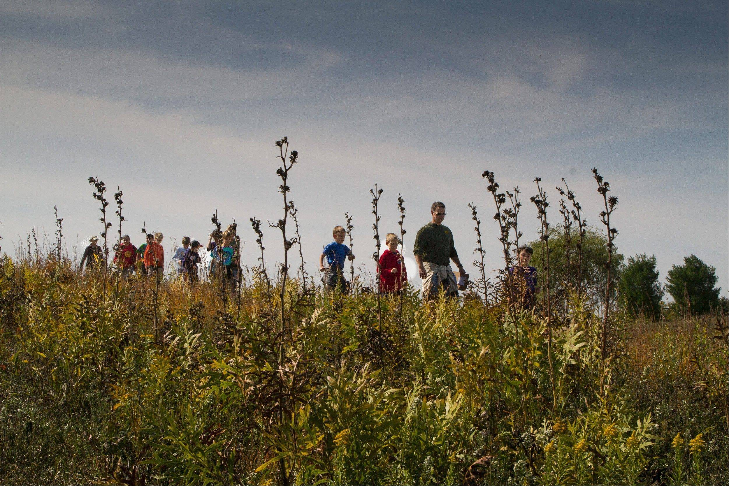 A discovery hike is always a favorite part of the prairie preservation field experience.