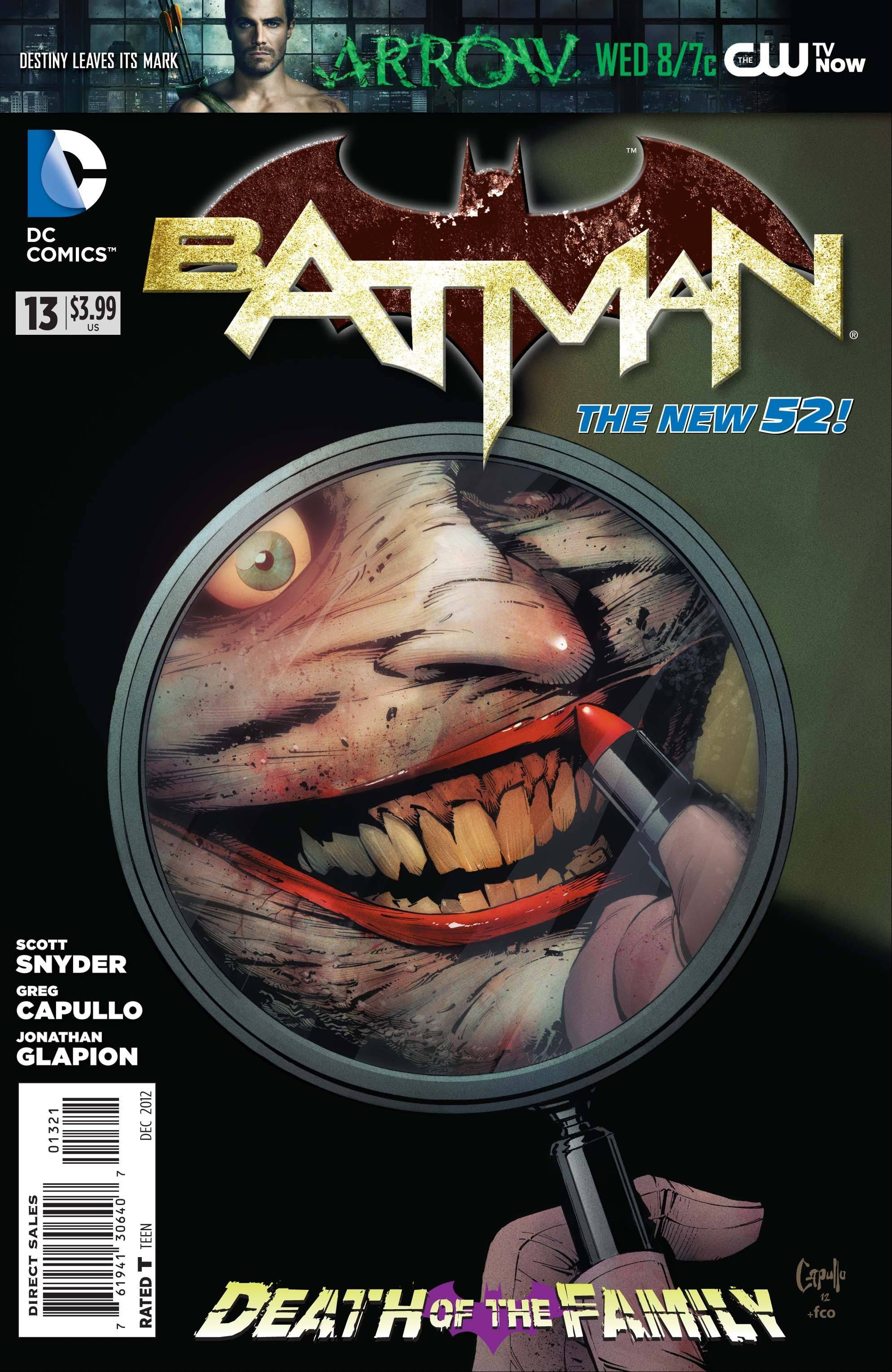 This comic book cover image released by DC Entertainment shows the Joker on the cover of �Batman� No. 13, released this week. The story, �Death of the Family,� will cross numerous issues from now through February.