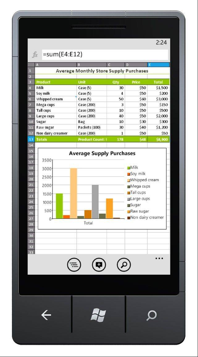 This undated image provided by Microsoft Office shows Excel Mobile on a Windows 7 phone. Microsoft's version of Office for the tablet is probably best suited for business users who crave seamless connections between their computer and on-the-go tablet.