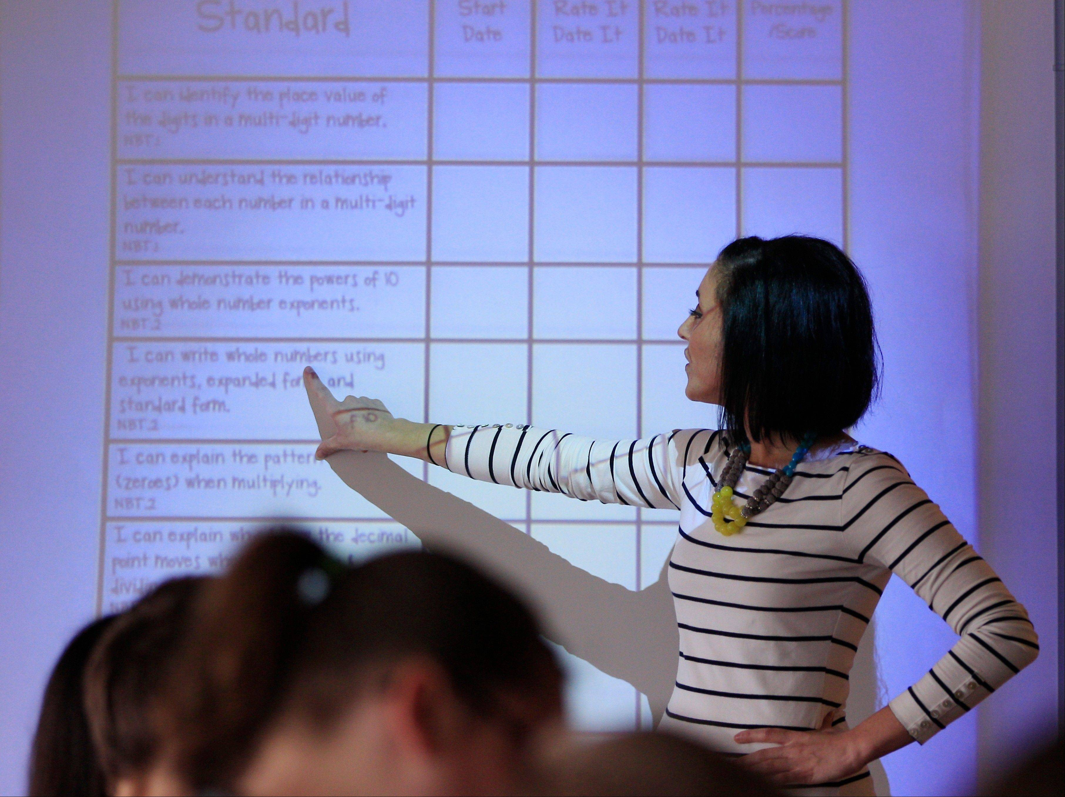 Kristine Nannini points out information on a student data sheet she created to her fifth grade class at McGrath Elementary in Grand Blanc, Mich.