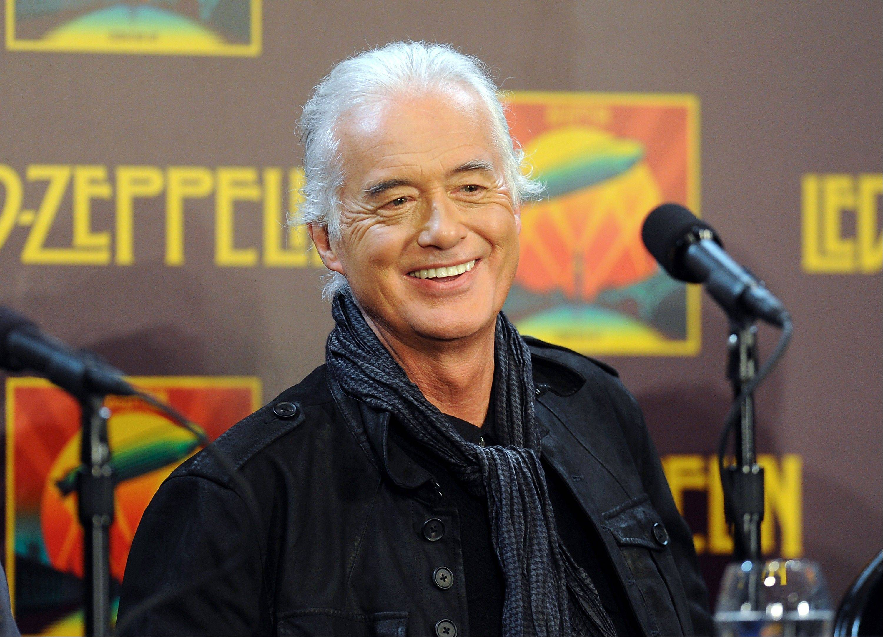 "Led Zeppelin Guitarist Jimmy Page participates in a press conference ahead of the worldwide theatrical release of ""Celebration Day"", a concert film of their 2007 London O2 arena reunion show, at the Museum of Modern Art on Tuesday, Oct. 9, 2012 in New York."