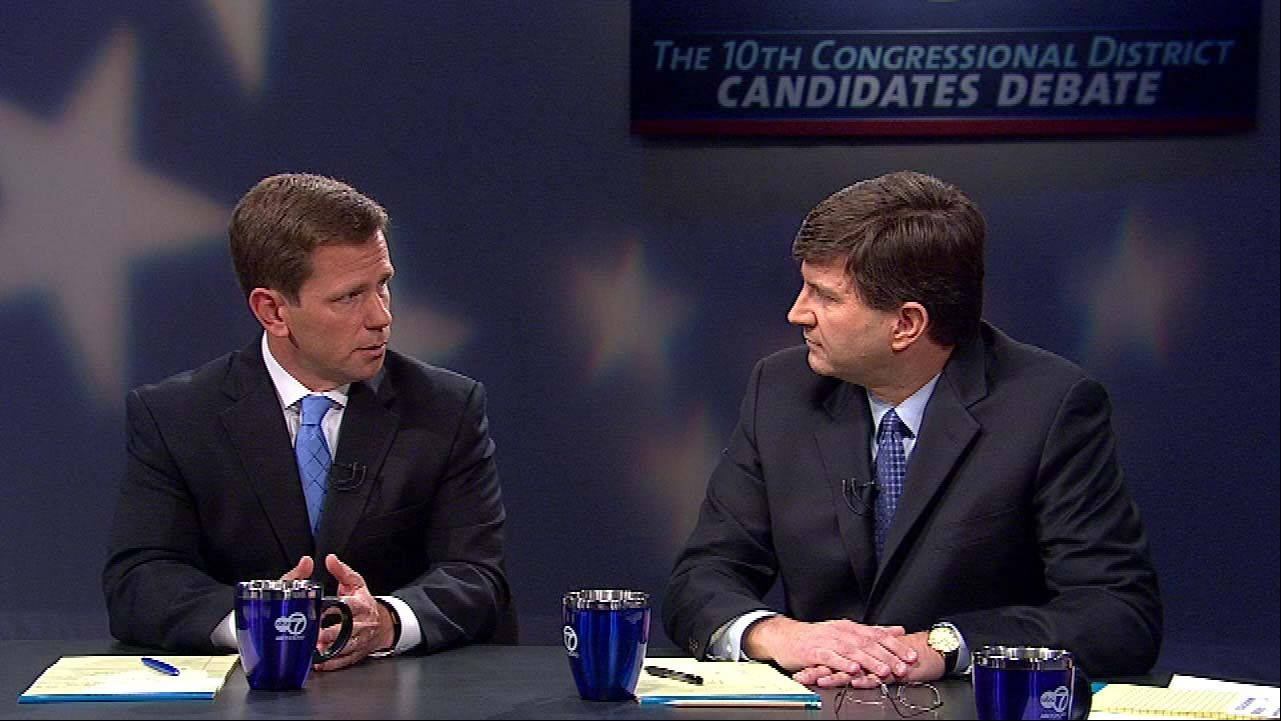 The 10th Congressional District candidates Republican Robert Dold, left, debates Democrat Brad Schneider, right, Saturday on ABC 7.