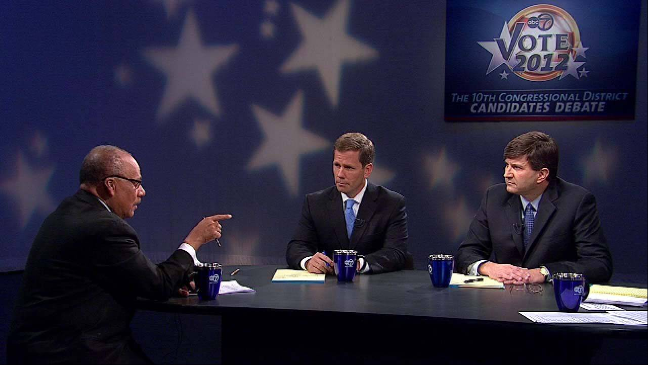 The 10th Congressional District candidates Republican Robert Dold, center, debates Democrat Brad Schneider, right, Saturday on ABC 7.