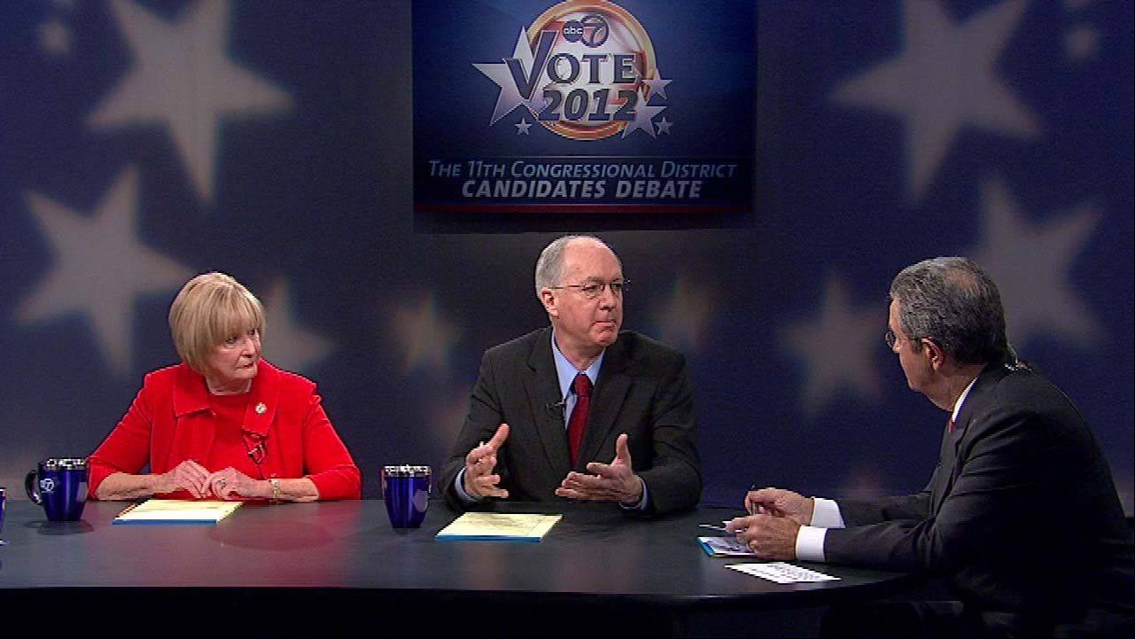The 11th Congressional District candidates Republican Judy Biggert debates Democrat Bill Foster, center, Saturday on ABC 7.