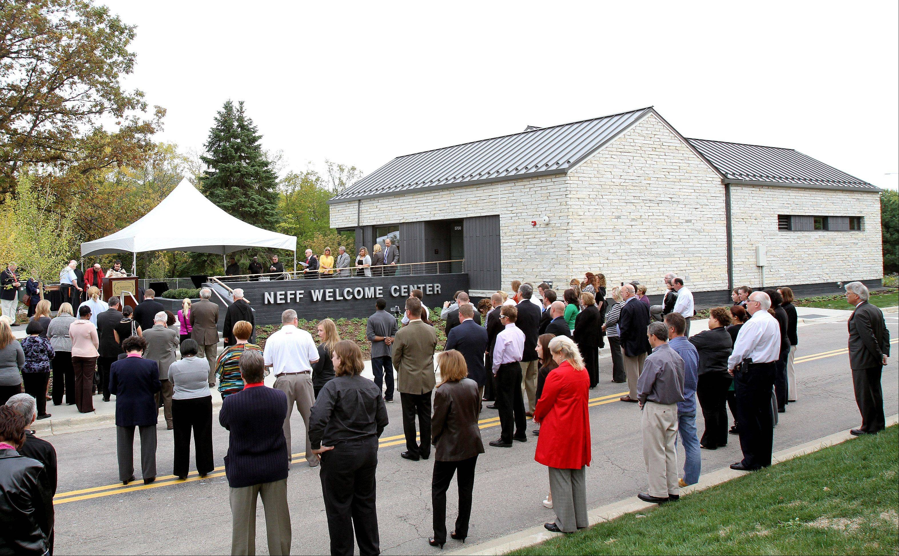 The Neff Welcome Center at Benedictine University in Lisle was unveiled in a ceremony and dedication earlier this month and stands ready to greet students, visitors and alumni.