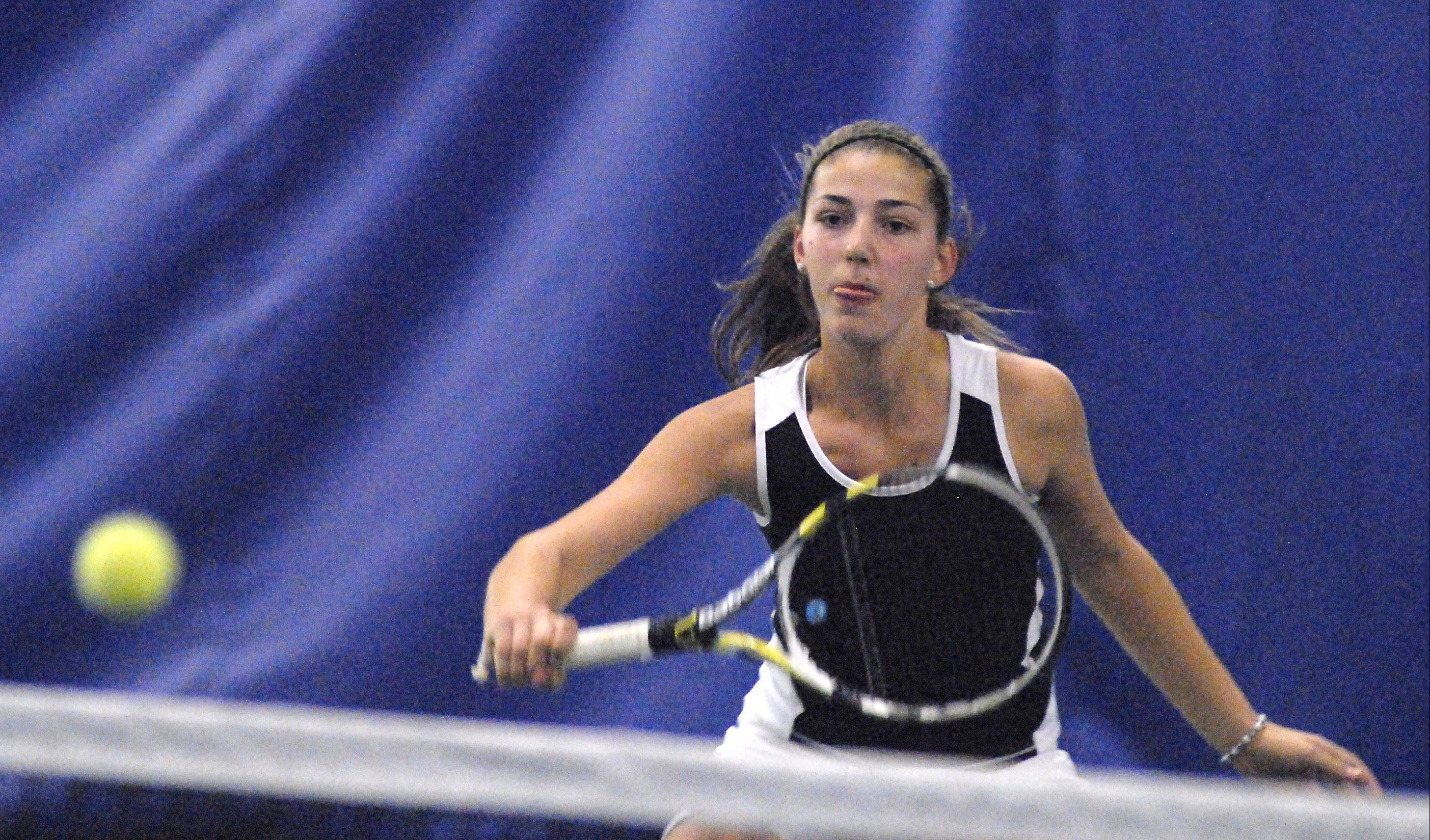 Kaneland's Angelica Emmanouil is headed to state after finishing third in doubles at the St. Charles East sectional.