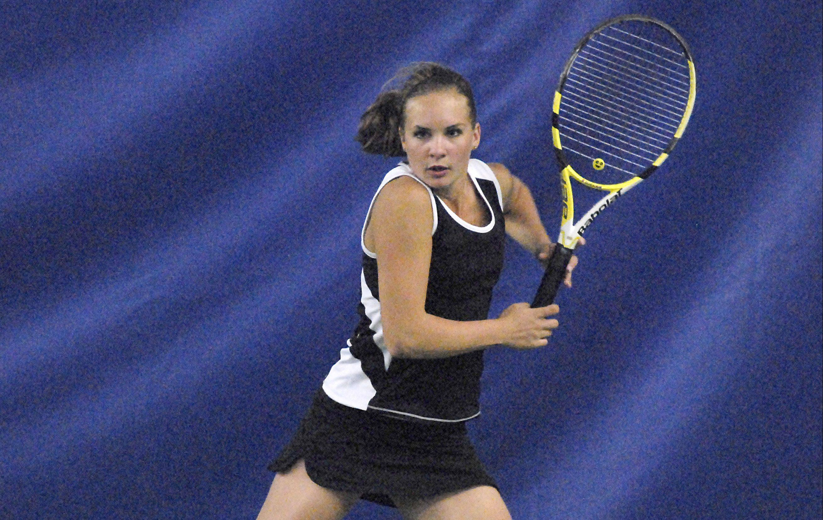 St. Charles East's Sammie Schrepferman in a singles semi-finals match in the sectional at St. Charles East on Saturday, October 13.