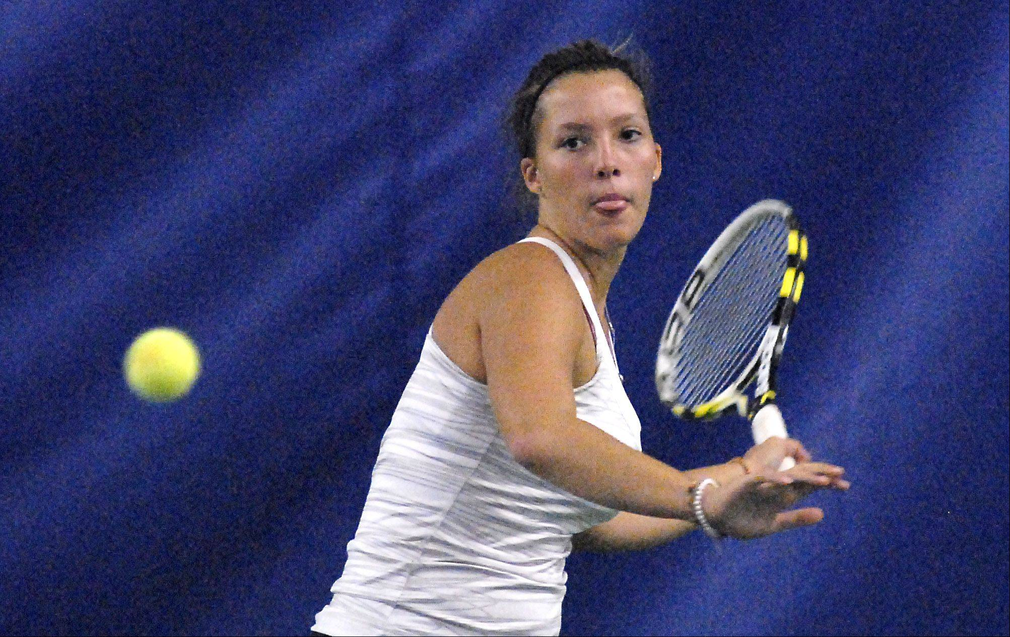 Bartlett's Jennifer Gates in a semi-finals match in the sectional at St. Charles East on Saturday, October 13.