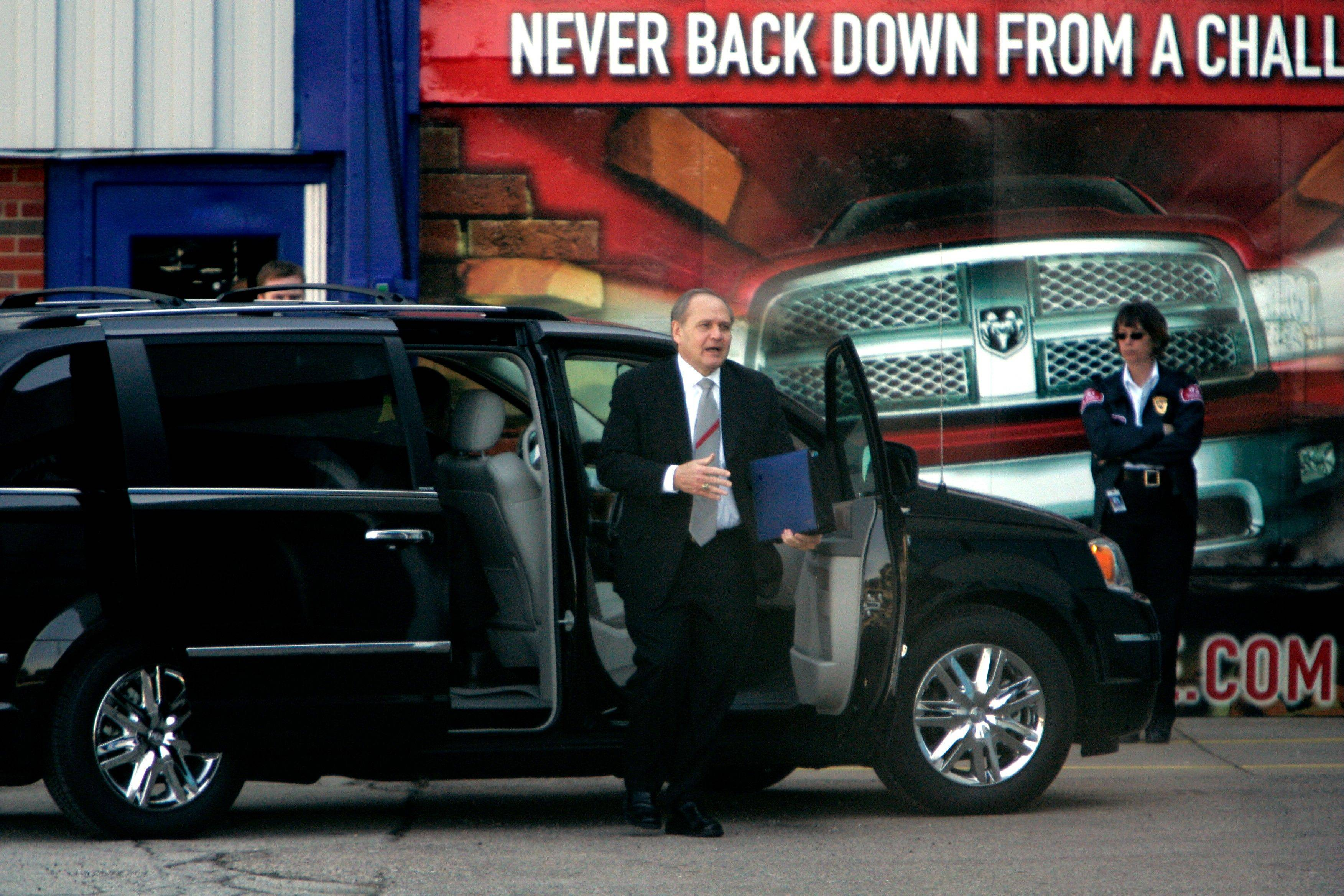 Chrysler Chairman and chief executive Bob Nardelli arrives for a meeting with members of the Obama administration�s auto task force at the automaker�s Warren Truck Assembly in Warren, Mich., in 2009. The task force met with General Motors Corp. executives earlier in the day. The government bailout of General Motors and Chrysler is one of the most polarizing issues of the presidential campaign.