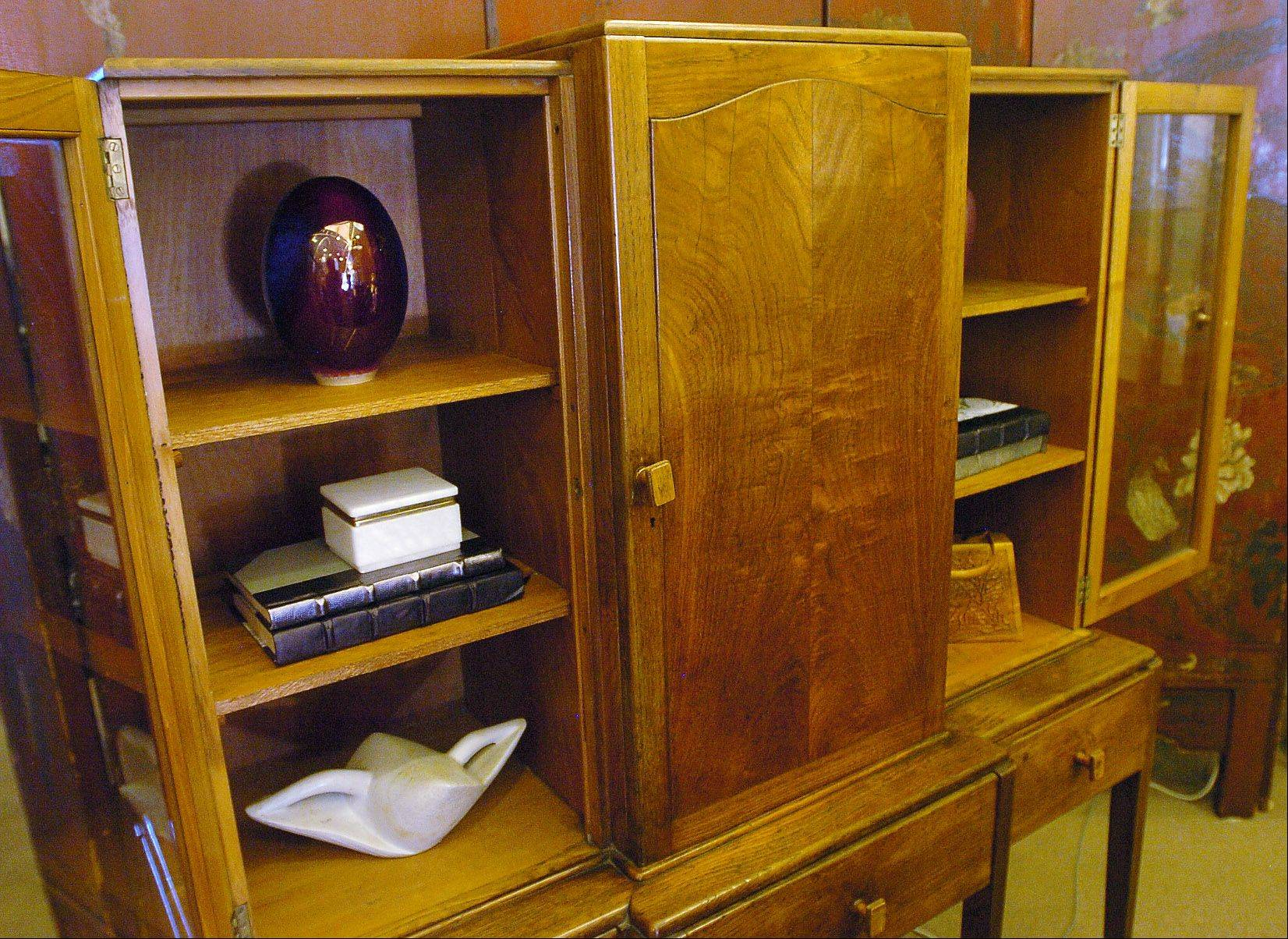 Midcentury English cabinet in designer Missie Bender's shop in Glencoe called Vignette Home.