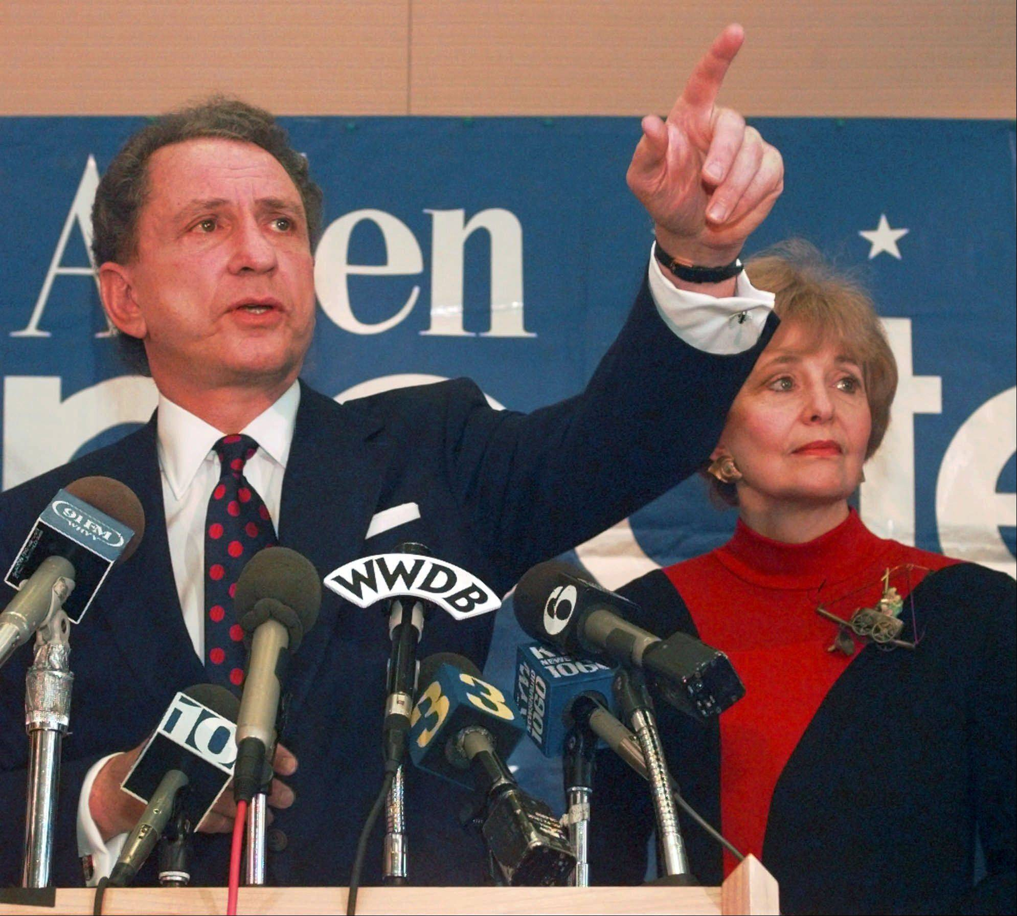 Sen. Arlen Specter is seen here in November 1995 when he announced he was dropping out of the 1996 presidential race. Specter, longtime Senate moderate and architect of one-bullet theory in JFK death, died Sunday. He was 82.