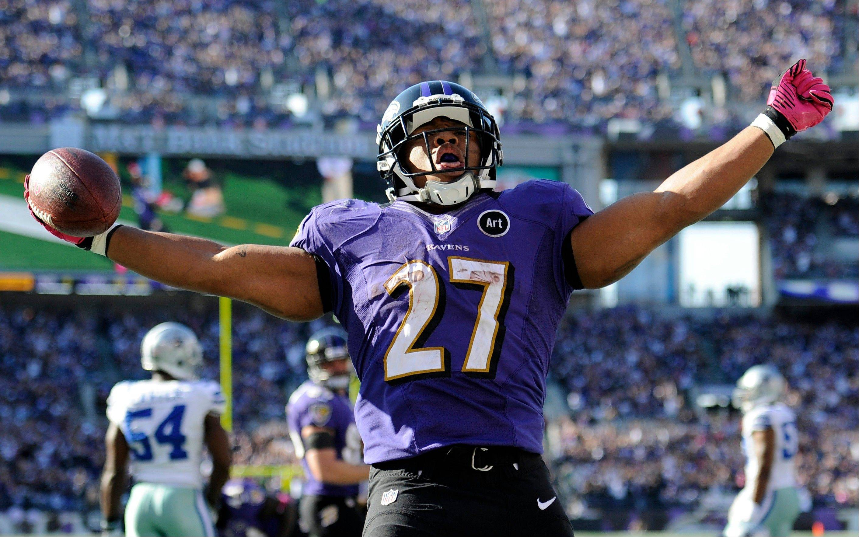 Baltimore Ravens running back Ray Rice reacts after scoring a touchdown in the second half of an NFL football game against the Dallas Cowboys in Baltimore, Sunday.