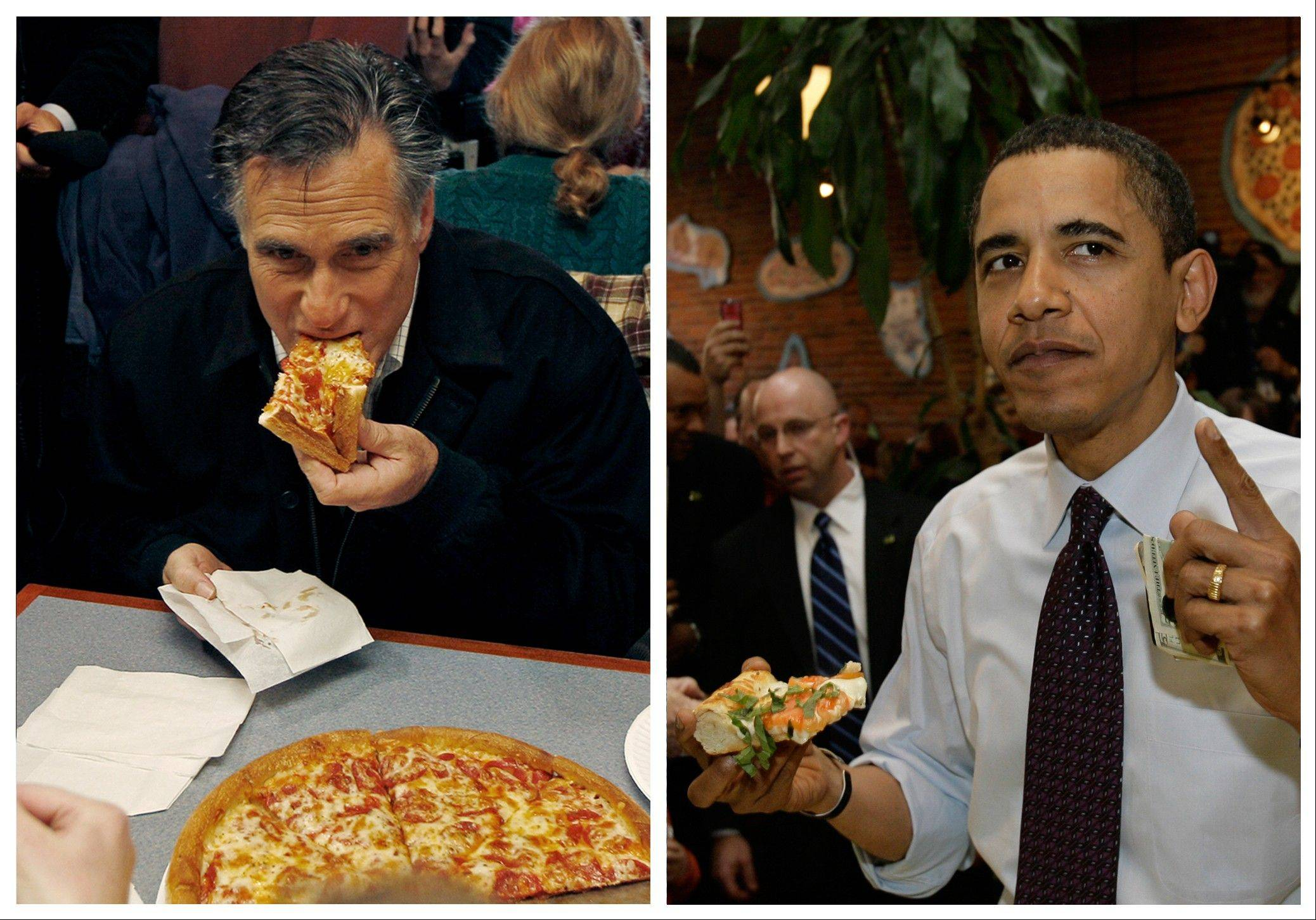 Republican presidential candidate former Mass. Gov. Mitt Romney, left, takes a bite of pizza during lunch with his wife Ann while campaigning at Village Pizza in Newport, N.H., Dec. 20, 2011. Then-Senator Barack Obama, right, takes a bite of pizza at American Dream Pizza in Corvallis, Ore., March 21, 2008.