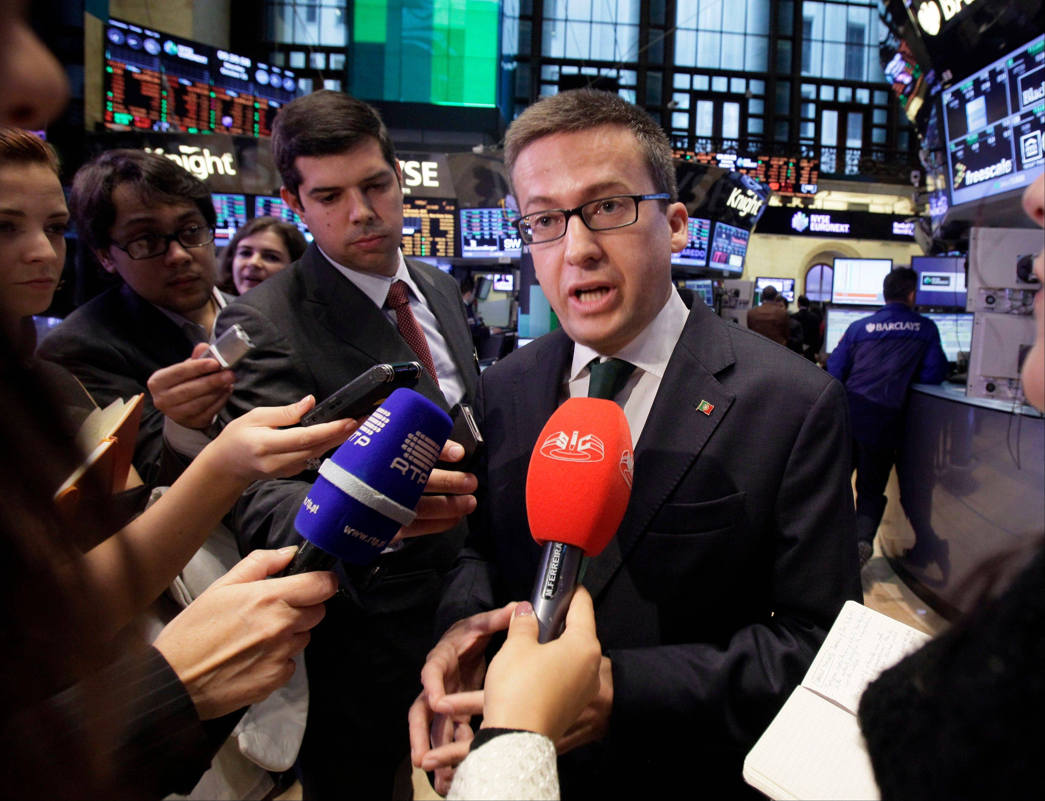 Portuguese Secretary of State to the Prime Minister Carlos Moedas is interviewed on the trading floor during the fourth annual Portugal Day at the New York Stock Exchange Monday. U.S. stocks rose, as the Standard & Poor's 500 Index rebounded from its biggest weekly drop in four months, after American retail sales and Citigroup Inc.'s earnings topped estimates.