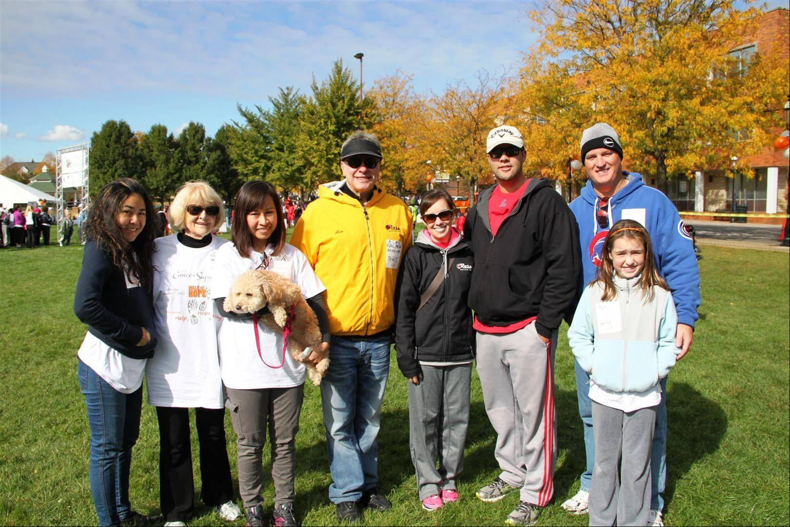Natkritta Oil Suracupt, from left, Fran Rose, Tiwa Borrisuth, Alan Rose, Candace Johnson, Eric Johnson, Kevin Tiernan, Ryan Tiernan (Kevin's daughter) participated in the Walk of Hope.